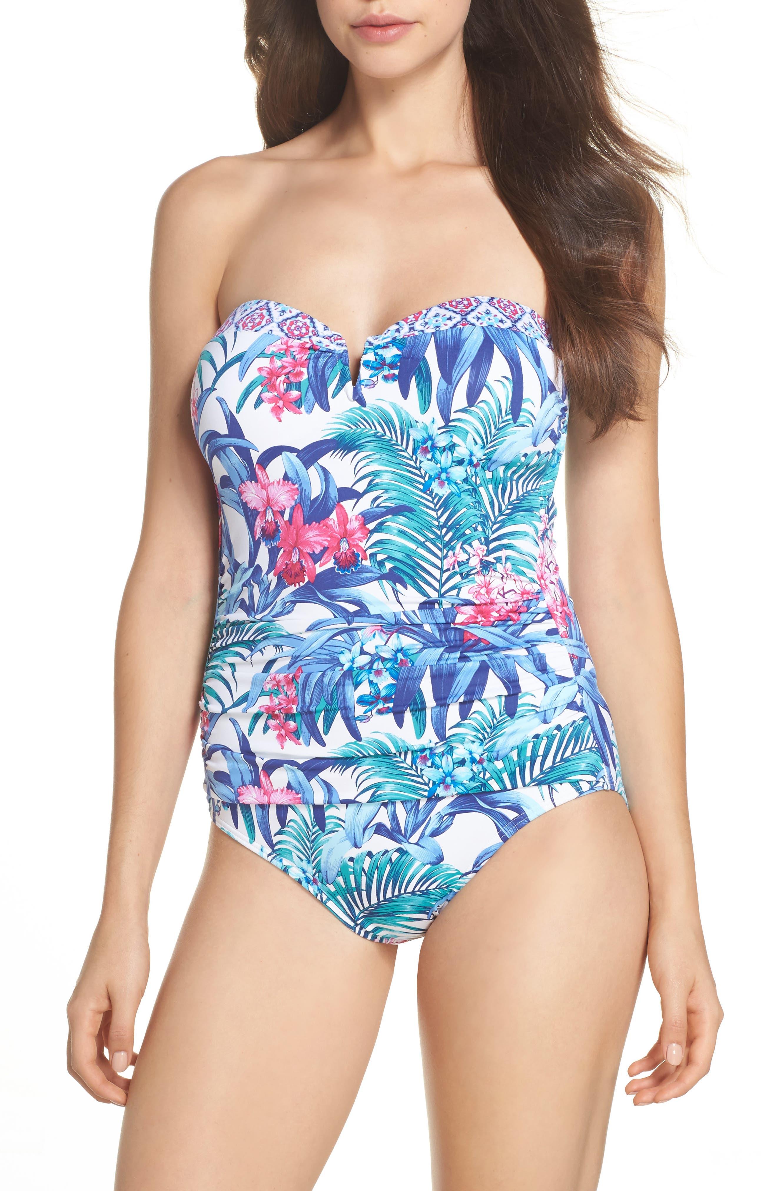 Majorelle Bandeau One-Piece Swimsuit,                         Main,                         color, 100