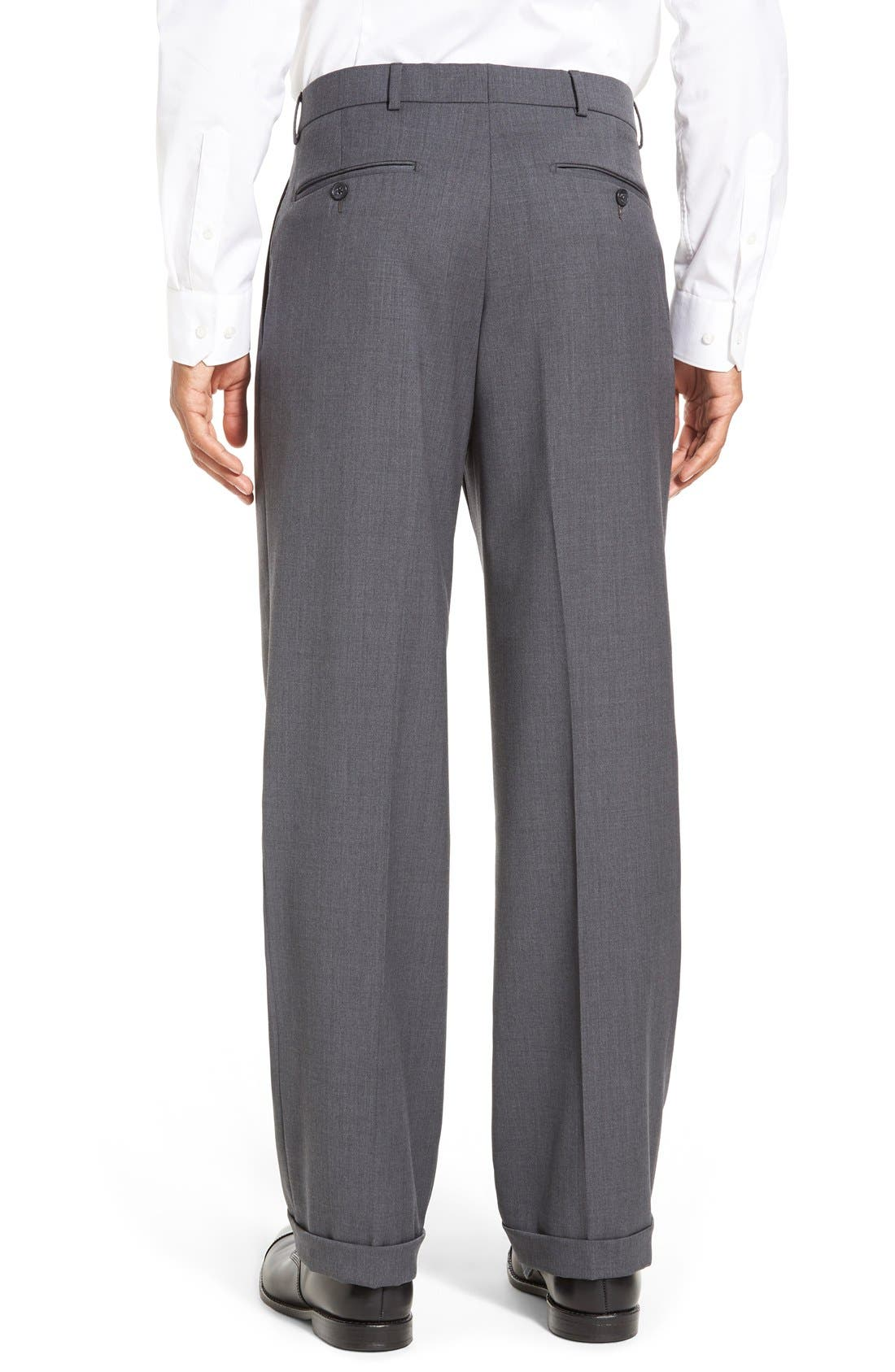 Pleated Solid Wool Trousers,                             Alternate thumbnail 19, color,