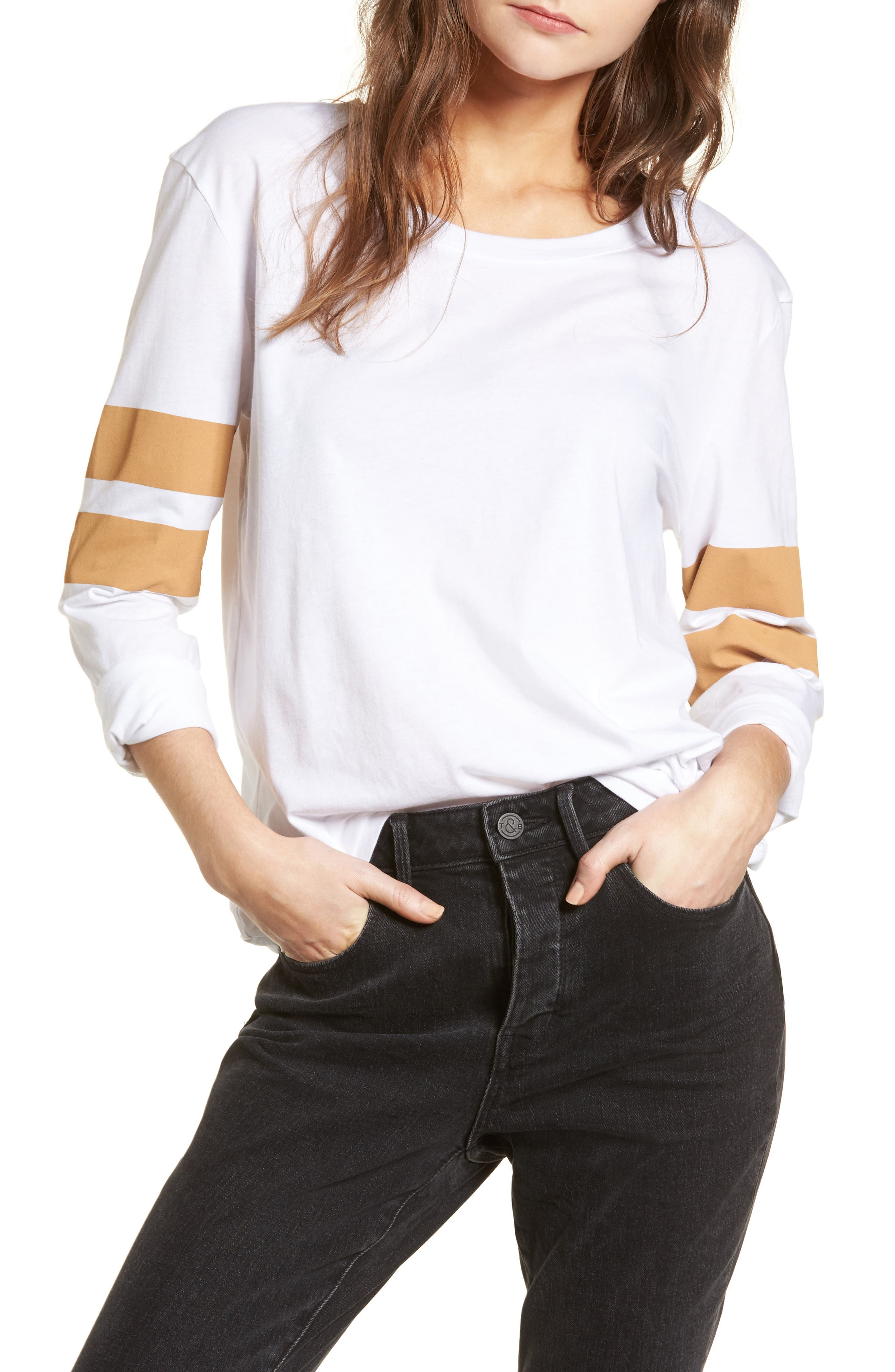 Varsity Stripe Cotton Tee,                             Main thumbnail 6, color,