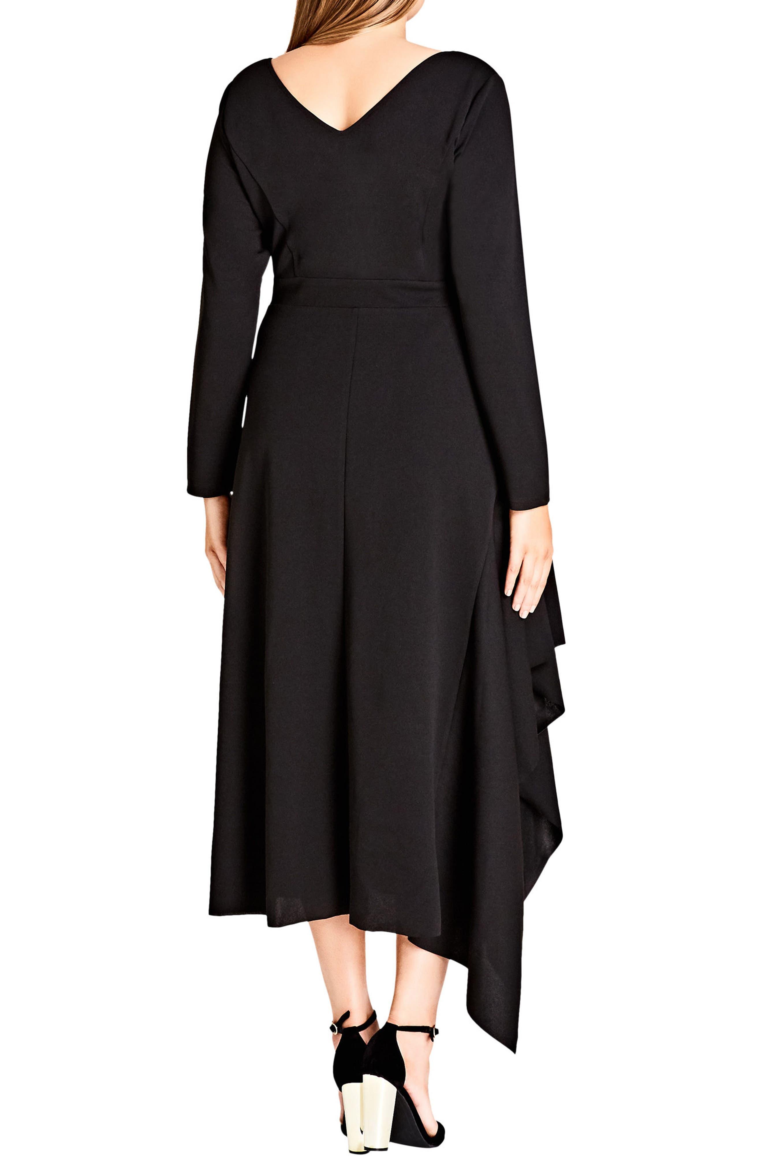CITY CHIC,                             Marvel Asymmetrical Maxi Dress,                             Alternate thumbnail 2, color,                             BLACK
