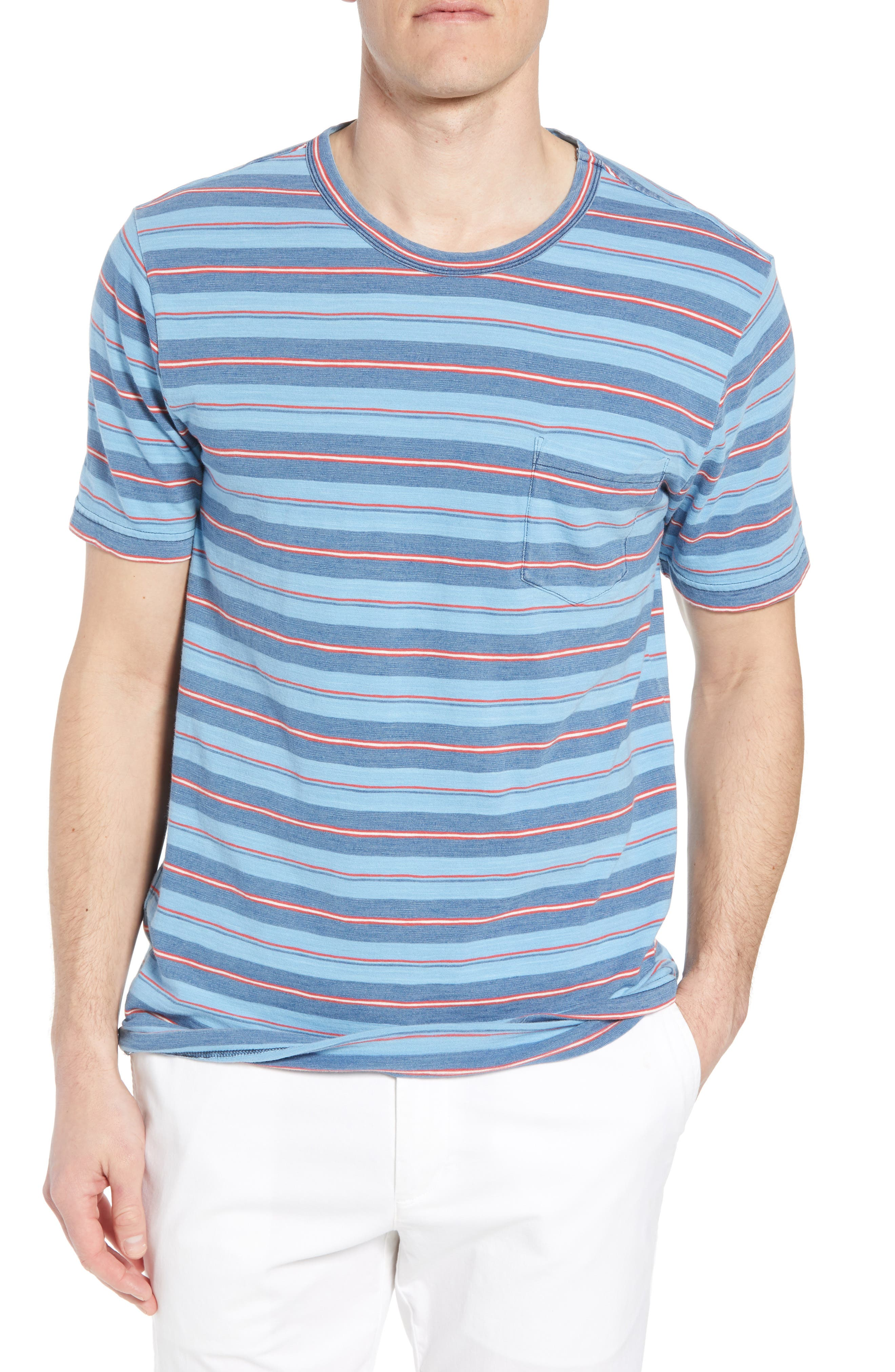 Vintage Stripe Pocket T-Shirt,                             Main thumbnail 1, color,                             INDIGO MULTI