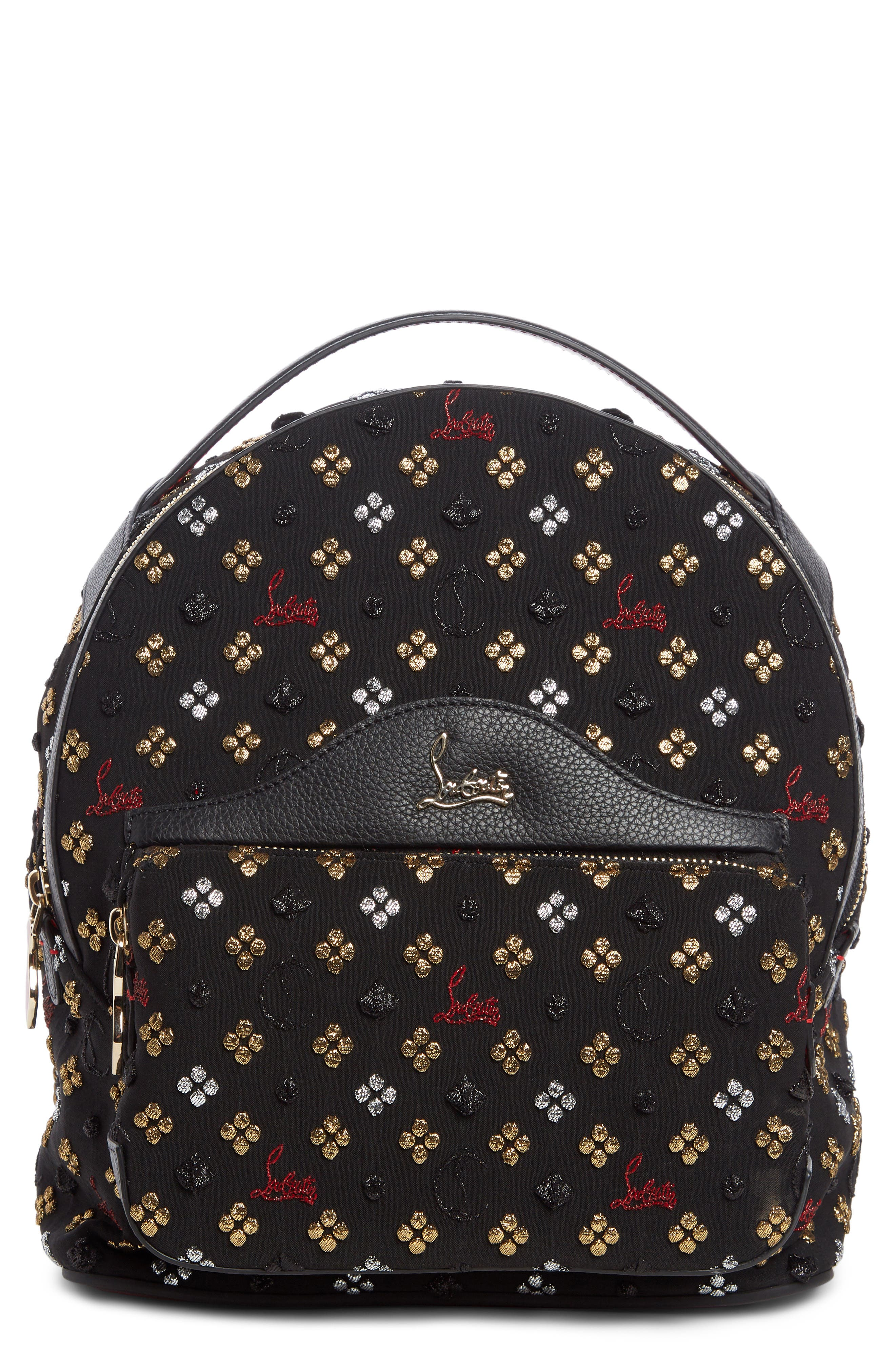 Small Backloubi Metallic Jacquard Backpack,                         Main,                         color, BLACK MULTI