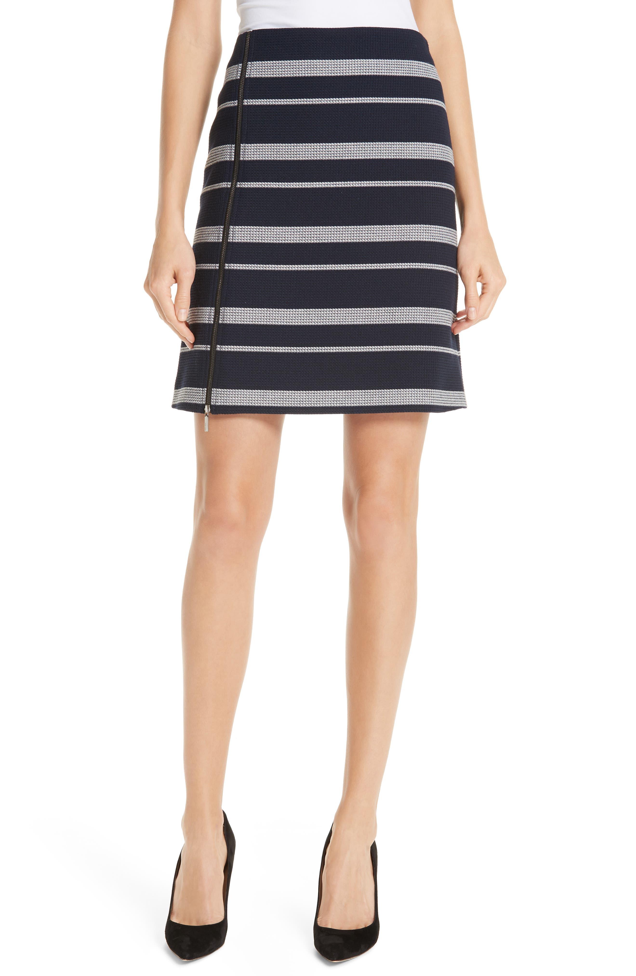 Stripe Jacquard Skirt, Main, color, NAVY FANTASY