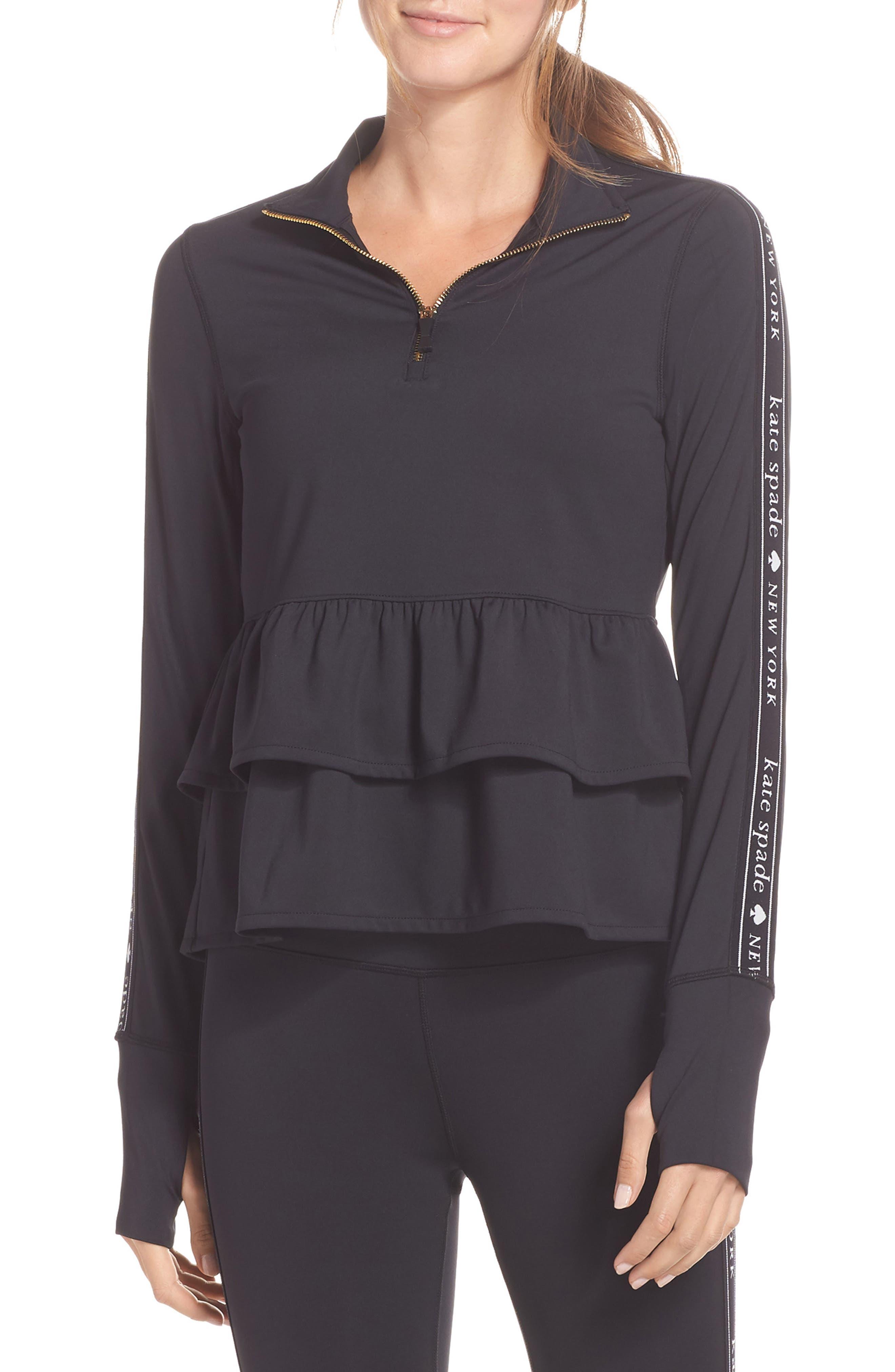 Kate Spade New York Logo Ruffle Half-Zip Pullover, Black