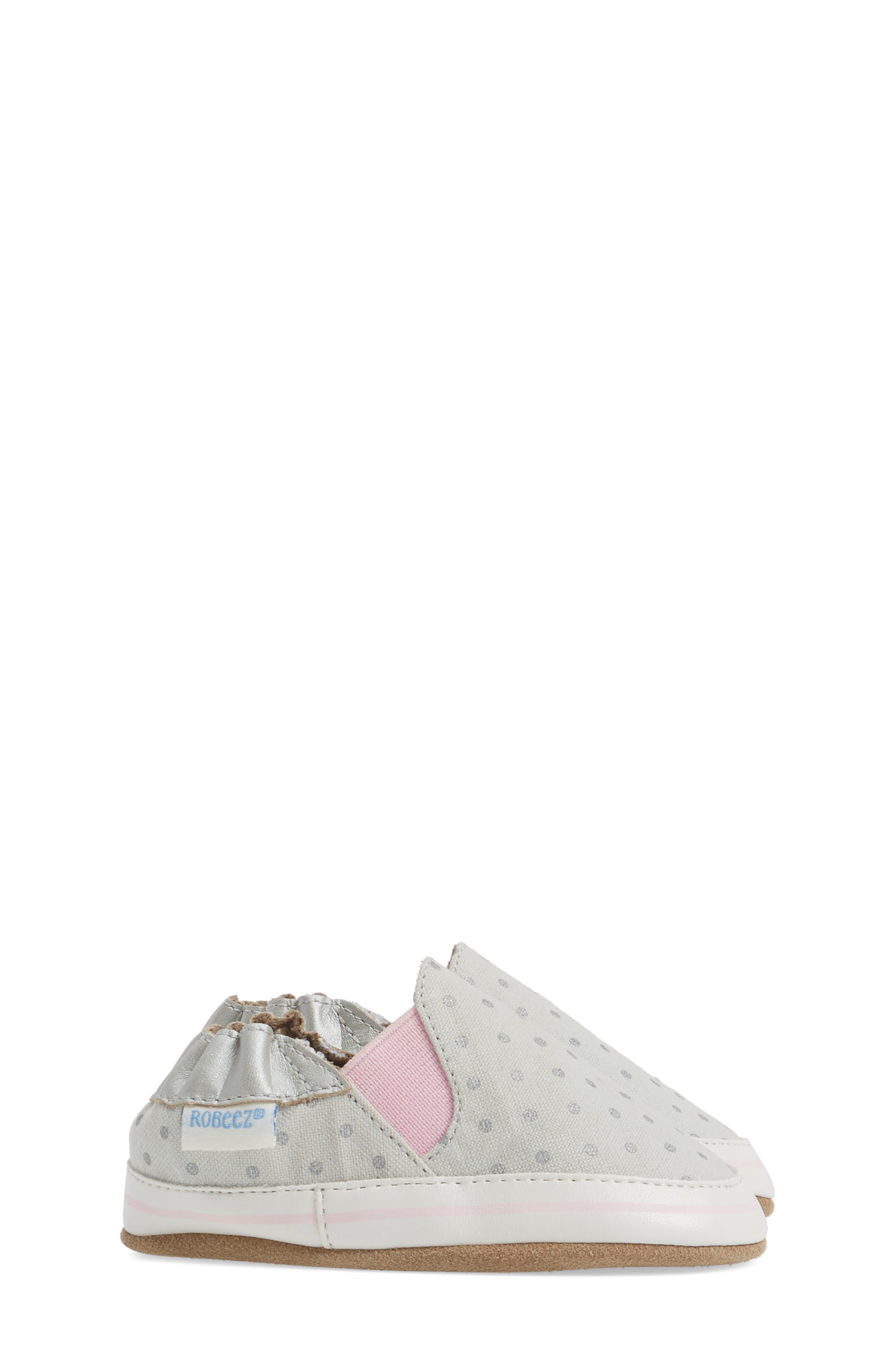 Dot Mania Crib Shoe,                             Alternate thumbnail 3, color,                             METALLIC GREY LEATHER