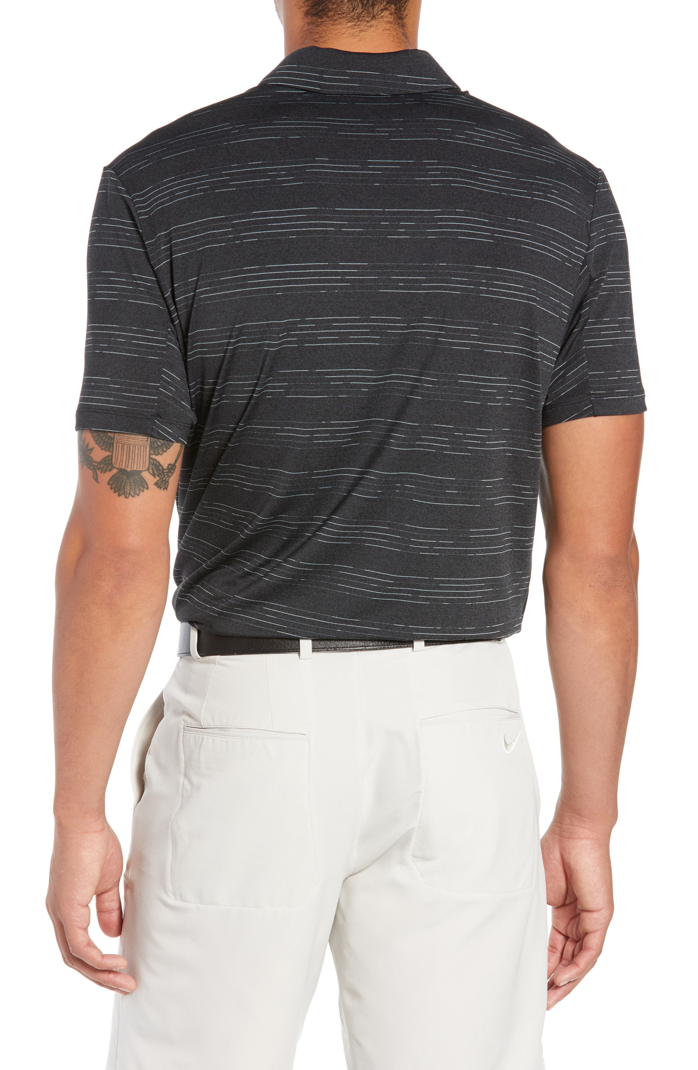 Dry Heather Stripe Polo,                             Alternate thumbnail 2, color,                             ANTHRACITE/ BLACK/ WOLF GREY