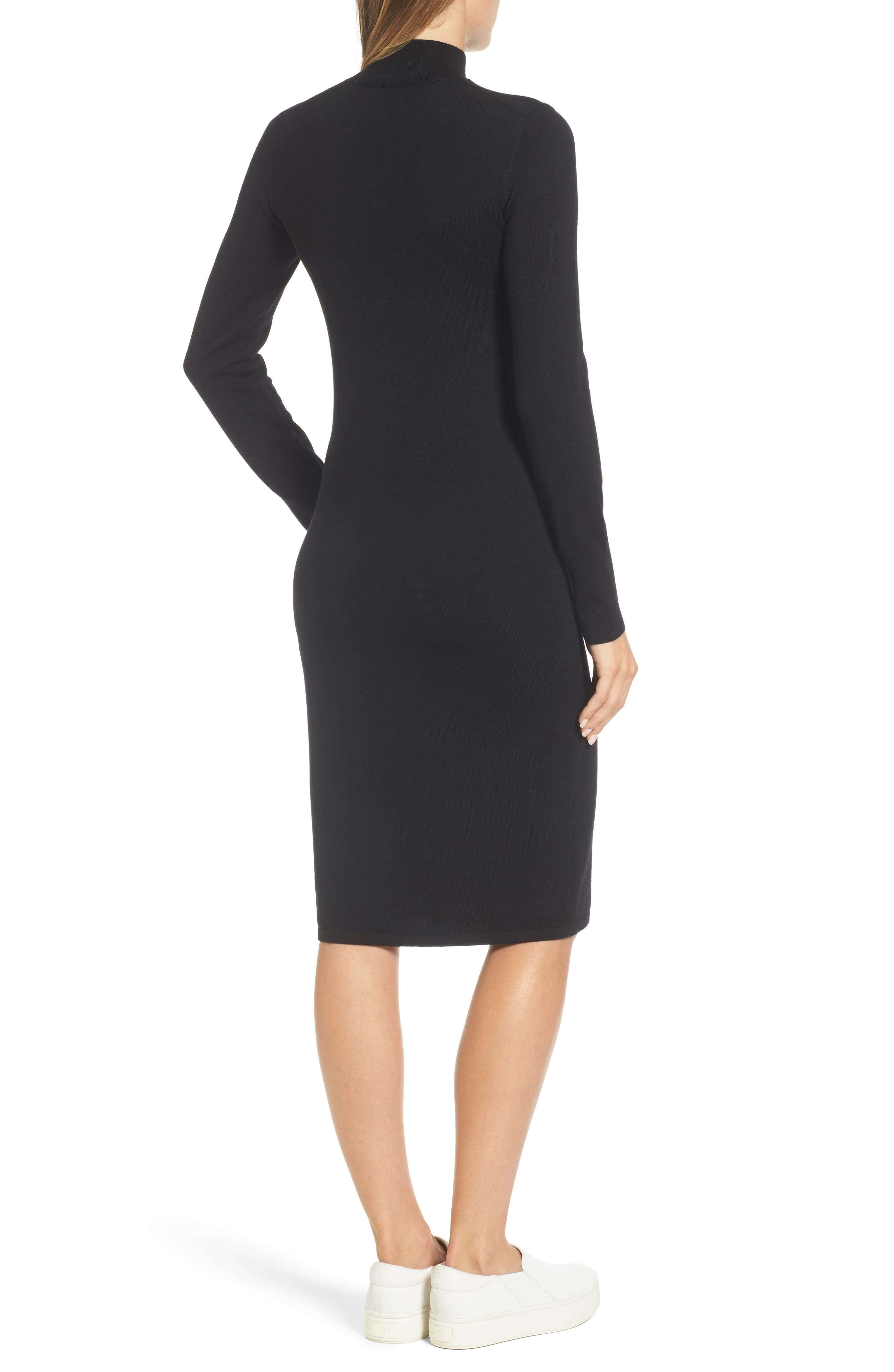 Italian Merino Wool Sweater Dress,                             Alternate thumbnail 2, color,                             001