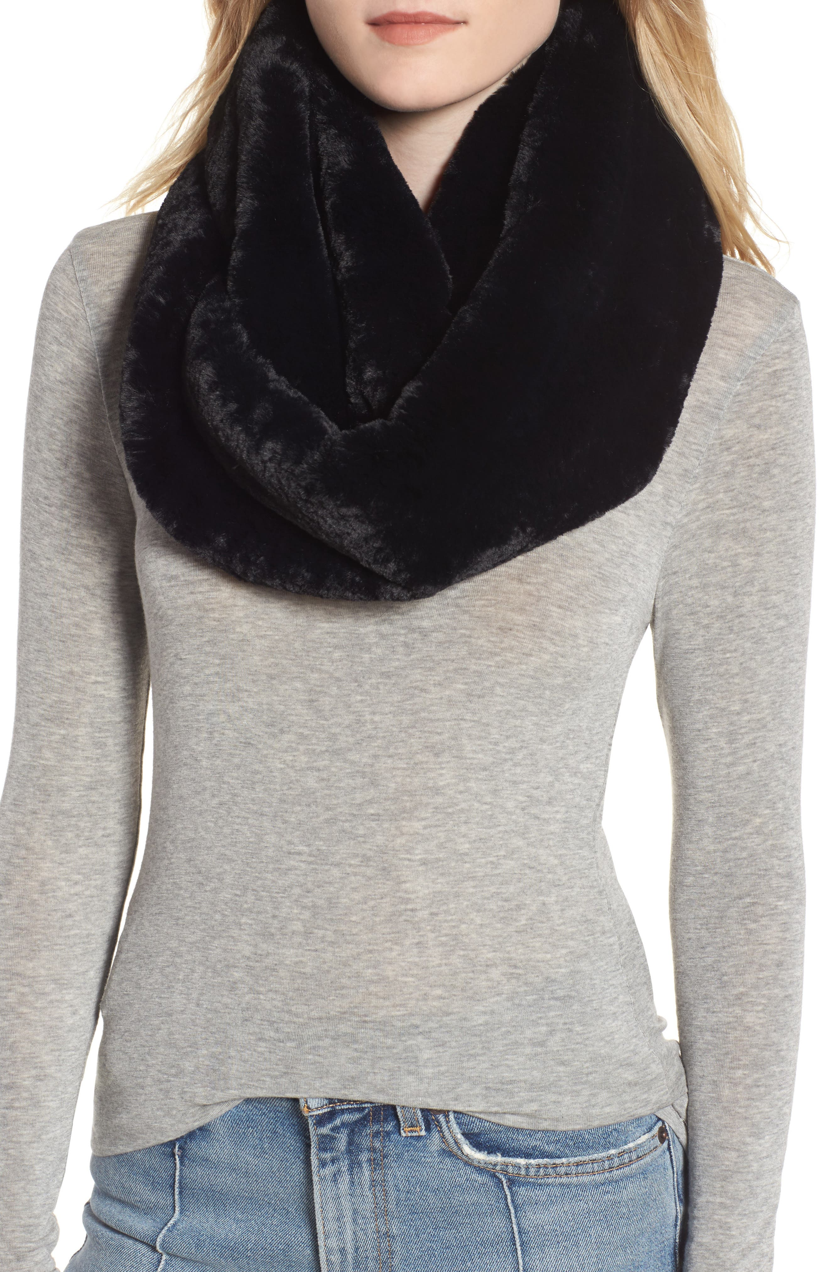 Faux Fur Infinity Scarf,                             Main thumbnail 1, color,                             001