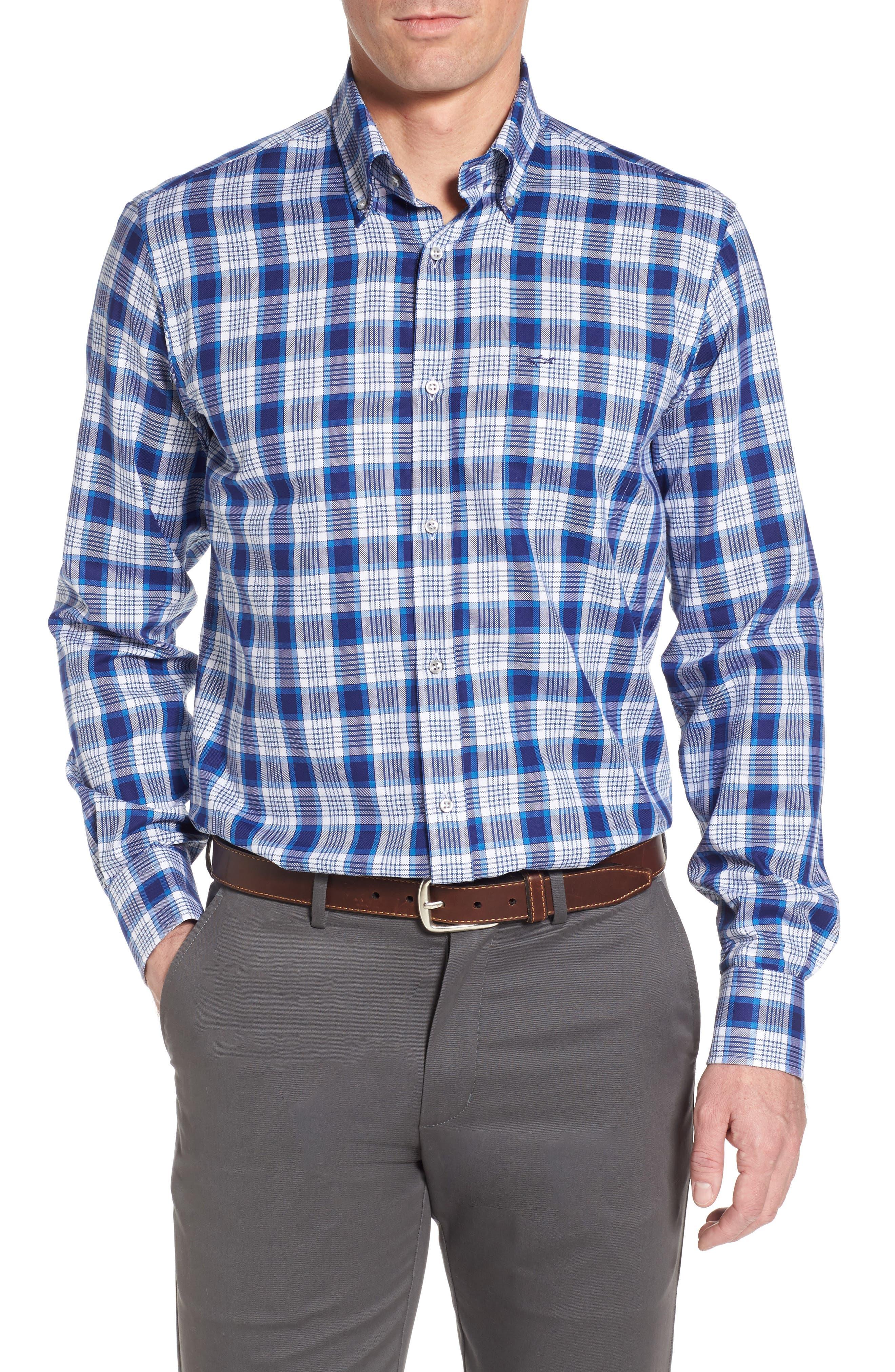 Paul&Shark Check Sport Shirt,                         Main,                         color, 406