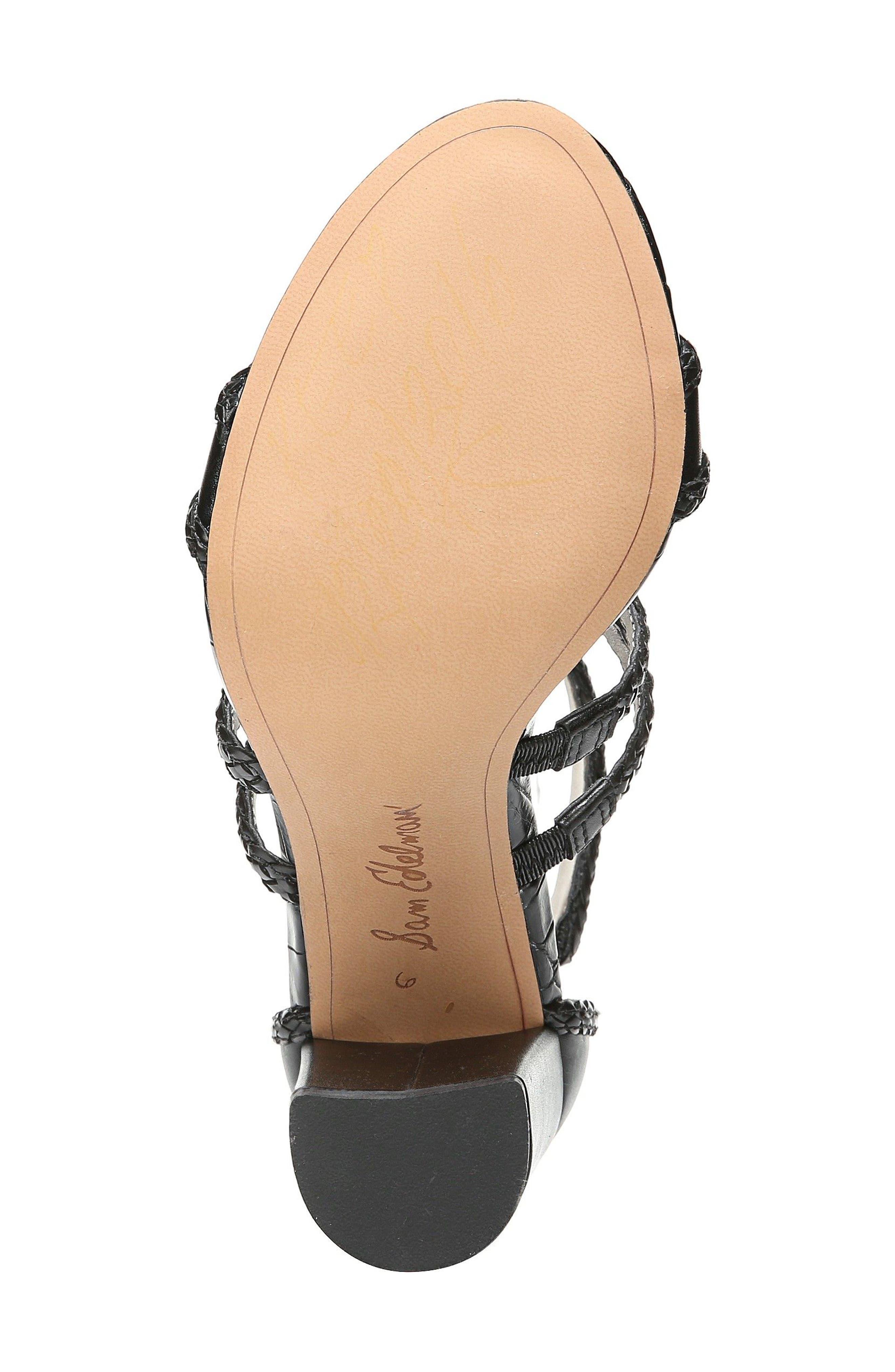 Yordana Woven T-Strap Sandal,                             Alternate thumbnail 6, color,                             001