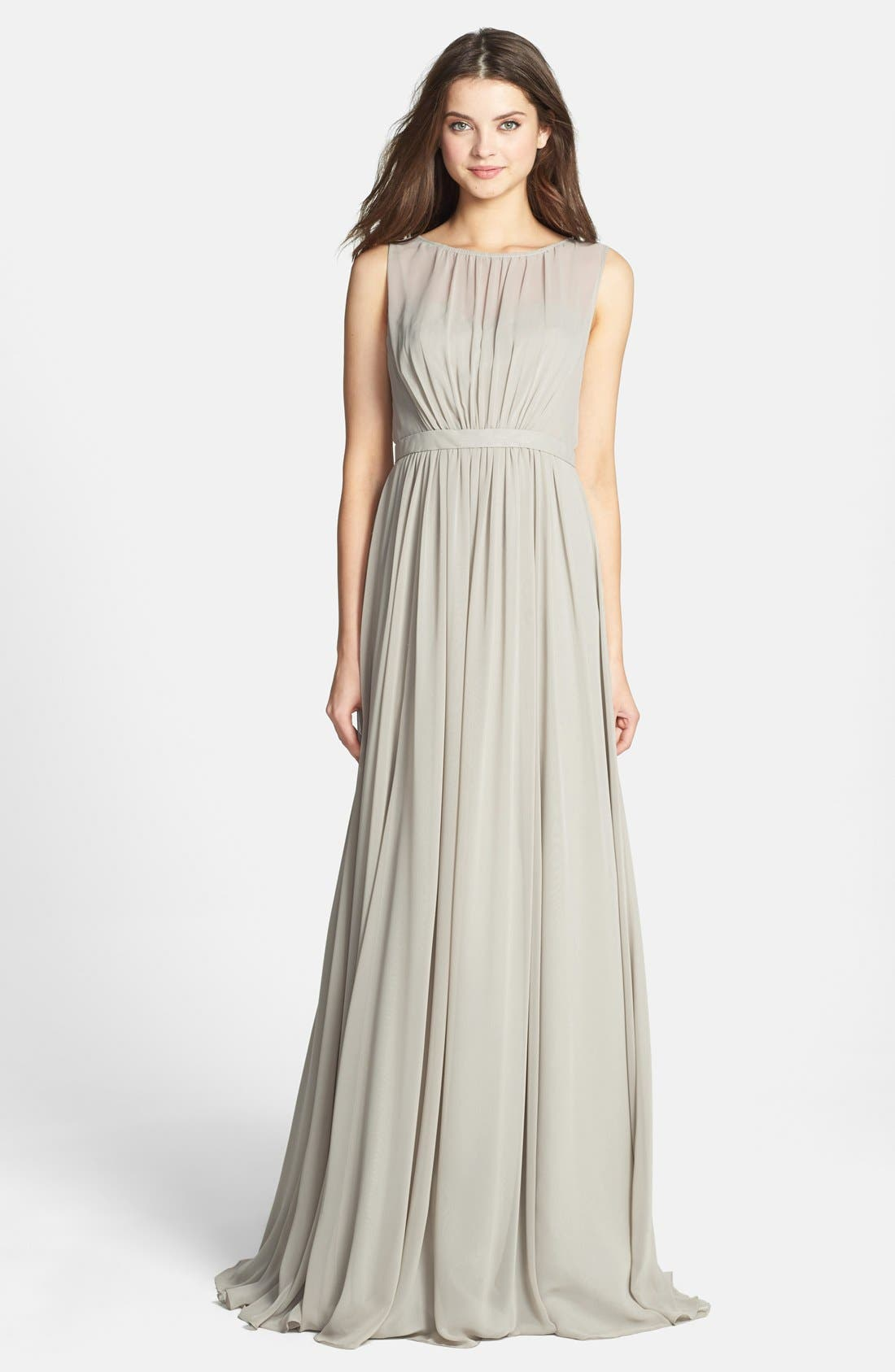 Vivienne Pleated Chiffon Gown,                             Main thumbnail 5, color,