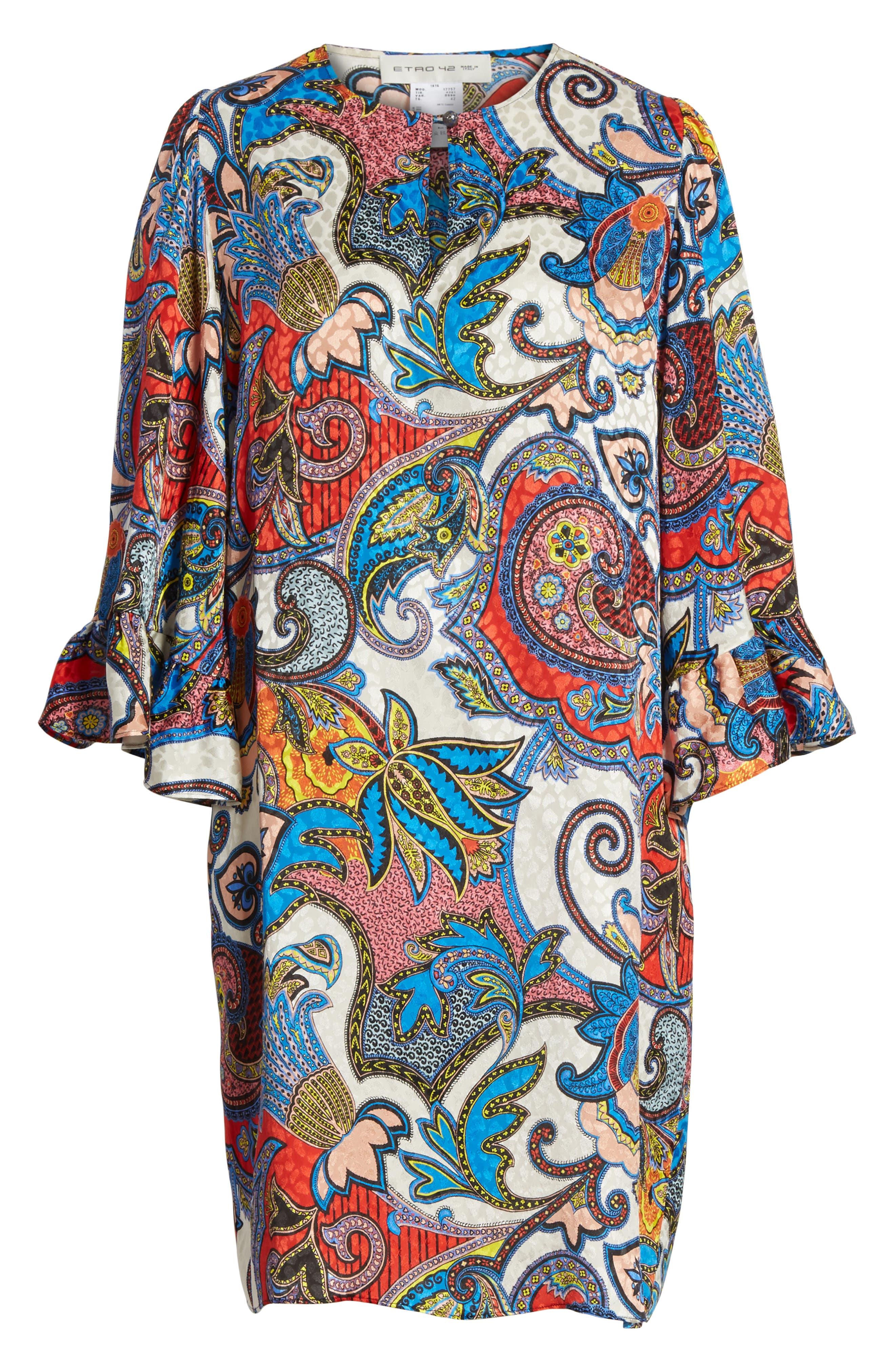 Paisley Print Silk Flutter Sleeve Dress,                             Alternate thumbnail 6, color,                             401