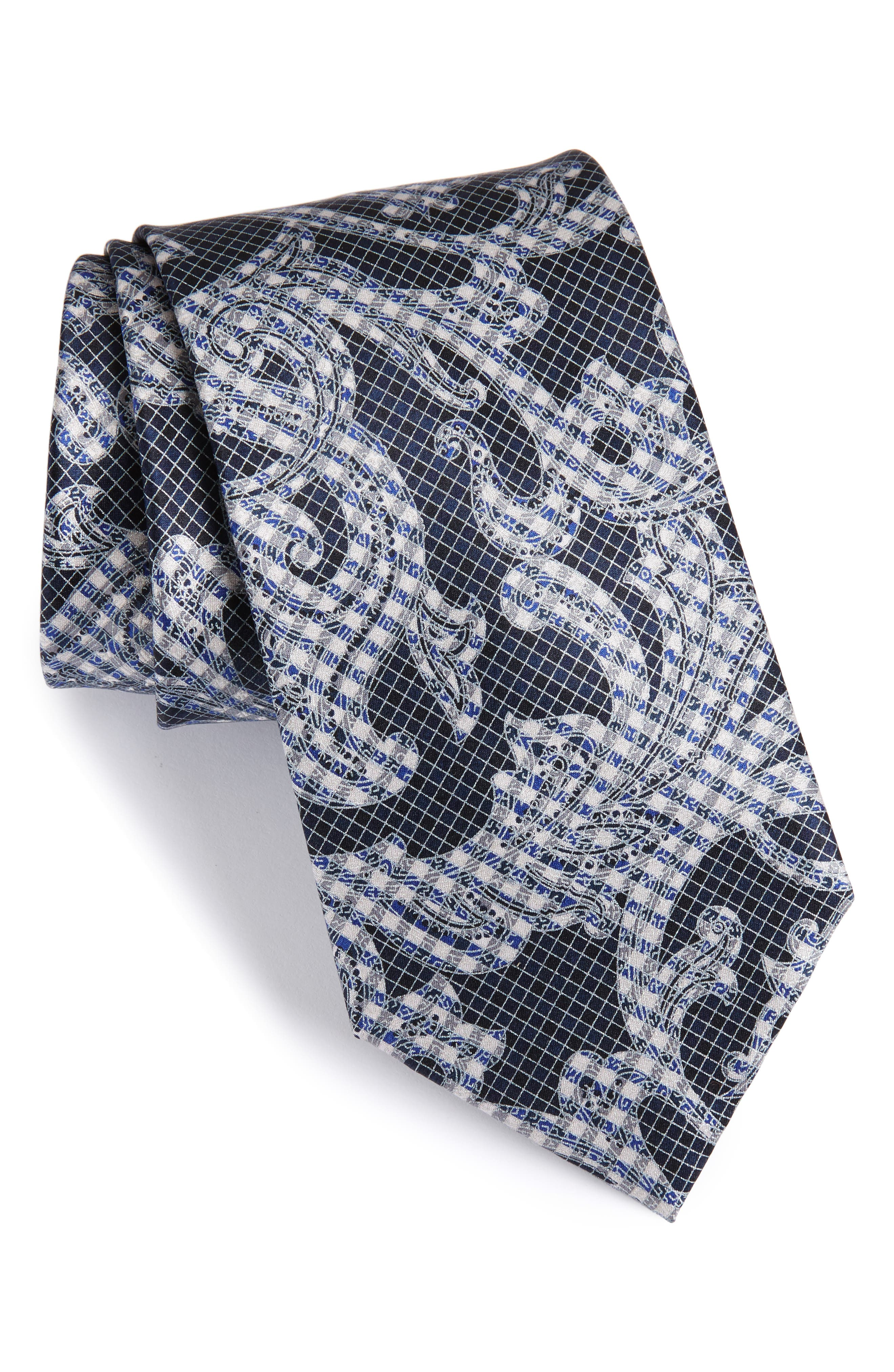 Paisley Silk Tie,                         Main,                         color, 425