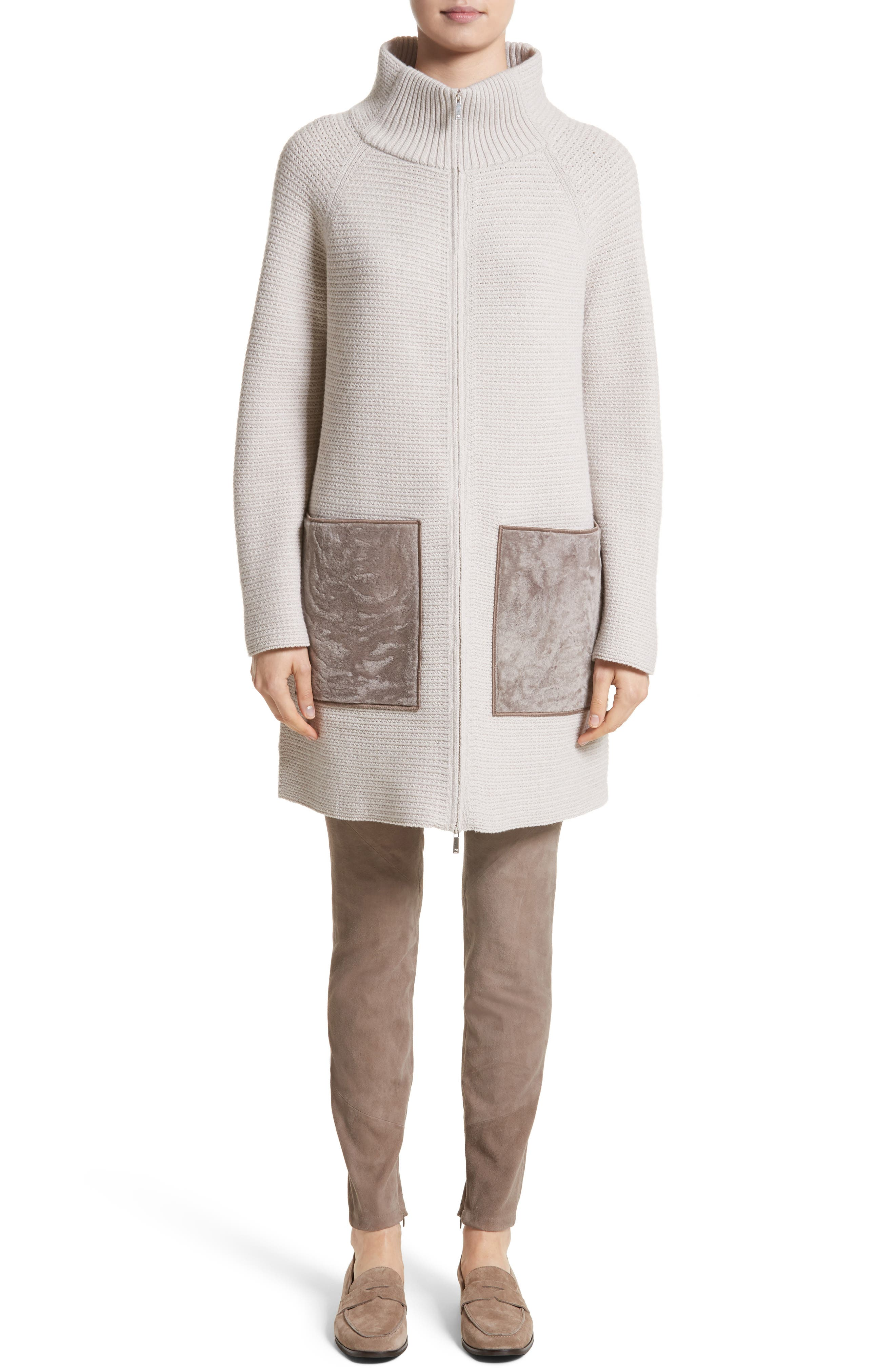 Wool & Cashmere Herringbone Stitch Cardigan with Genuine Shearling Pockets,                             Alternate thumbnail 7, color,