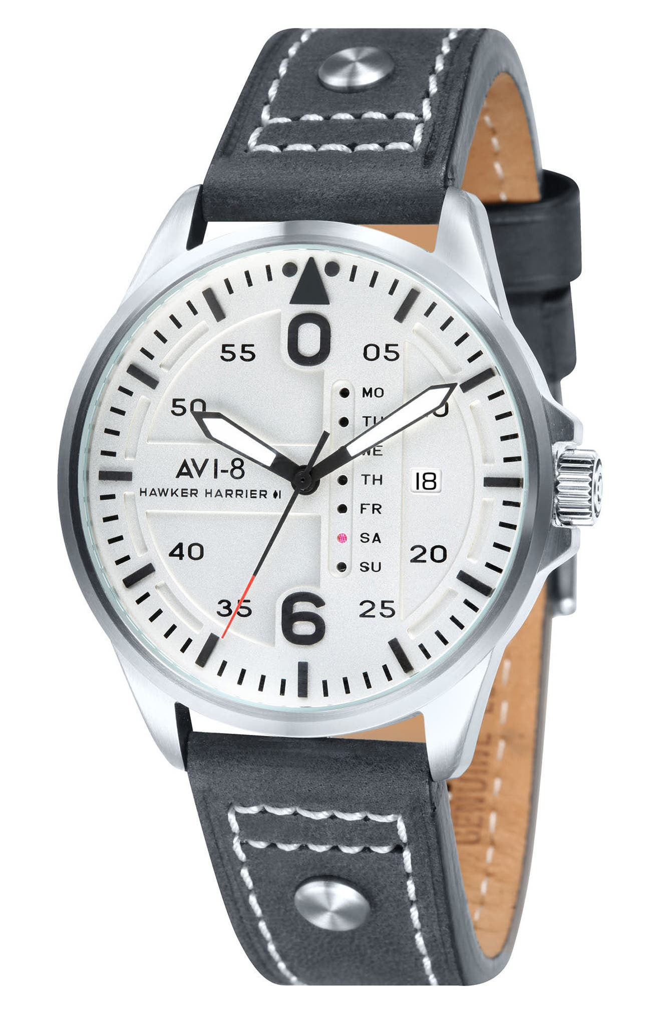 Hawker Harrier II Leather Strap Watch, 45mm,                             Main thumbnail 1, color,                             020