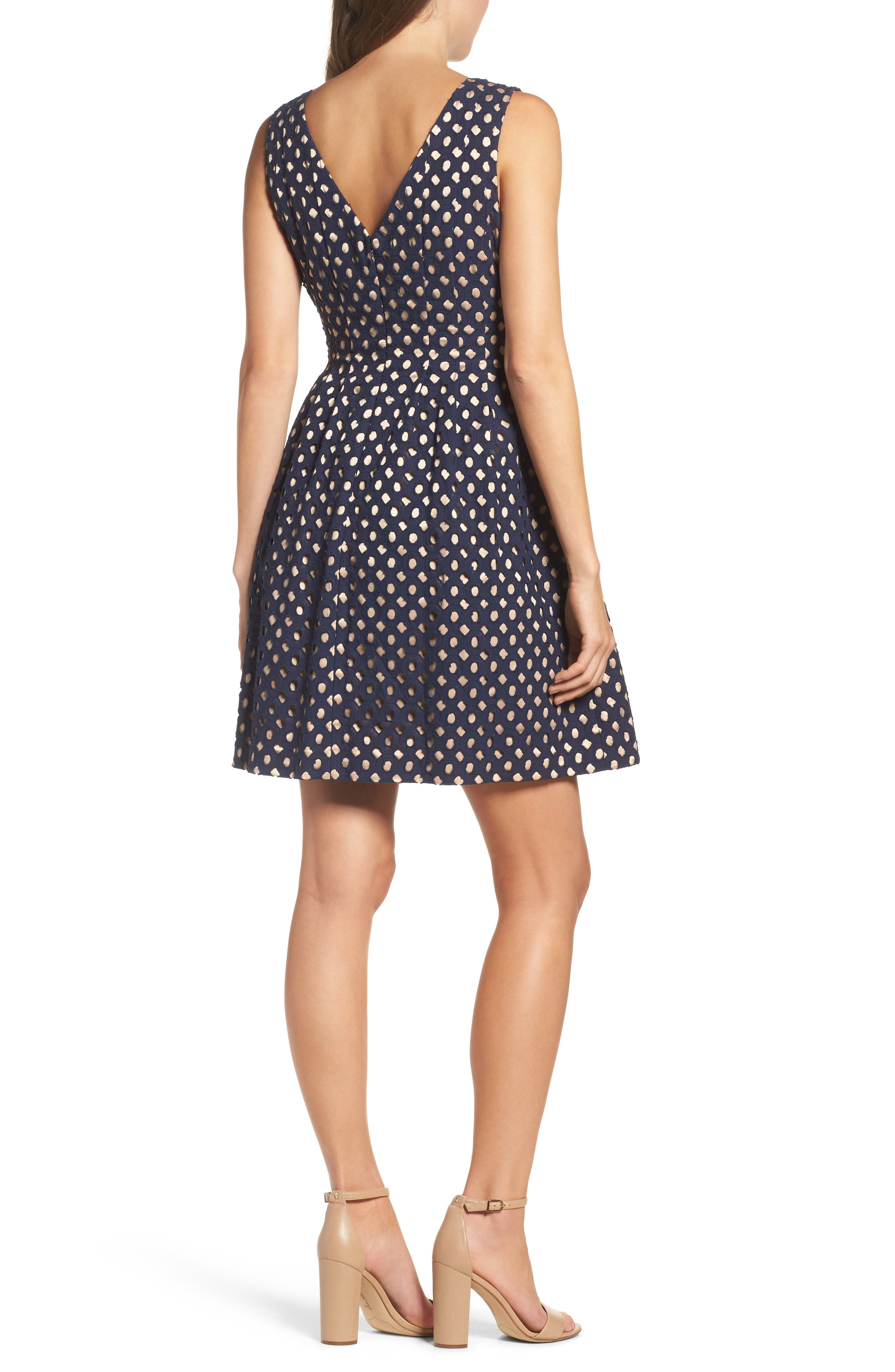 Eyelet Fit & Flare Dress,                             Alternate thumbnail 2, color,                             410