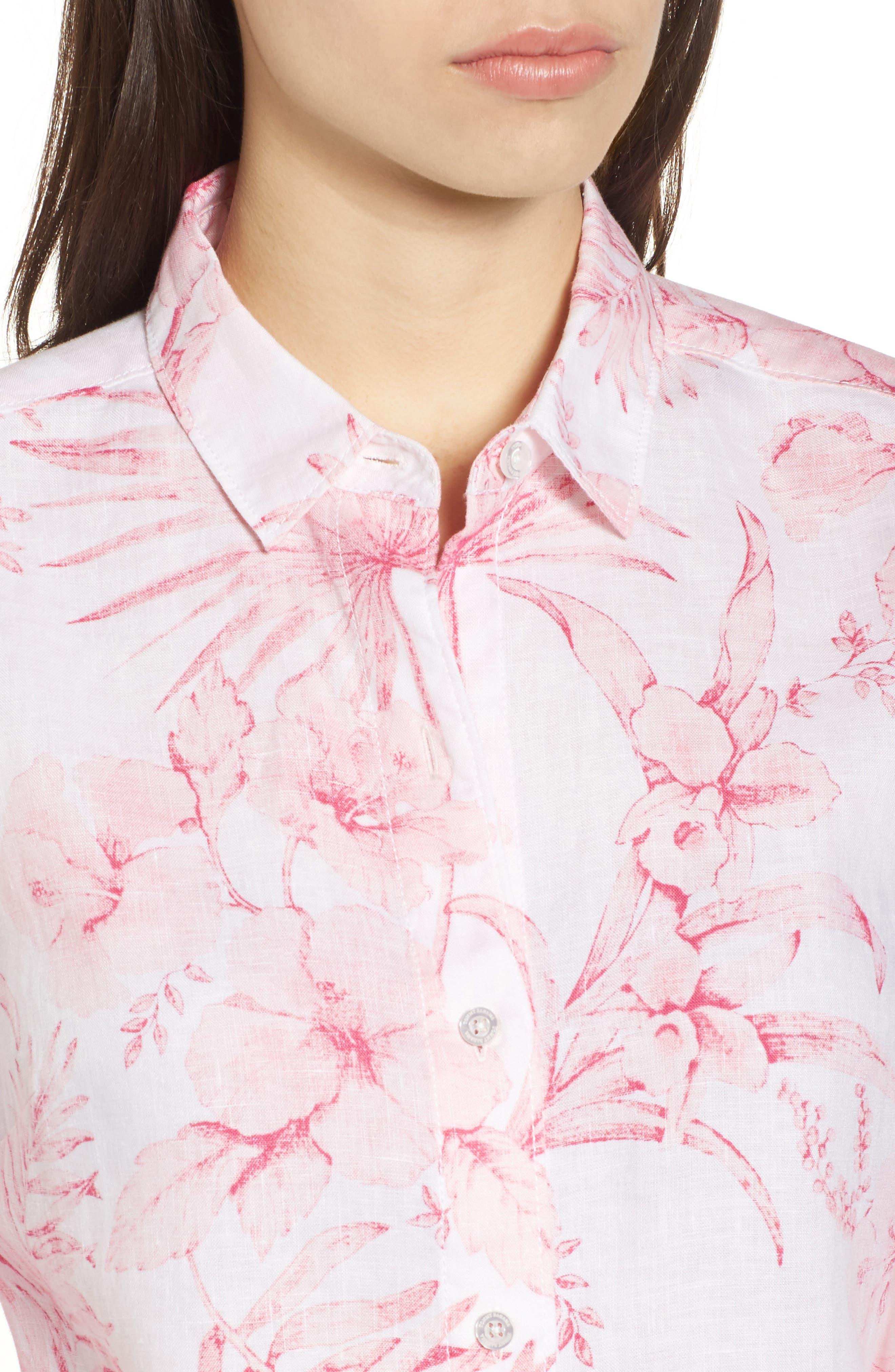 Tulum Tropical Linen Shirt,                             Alternate thumbnail 4, color,                             PINK LACE