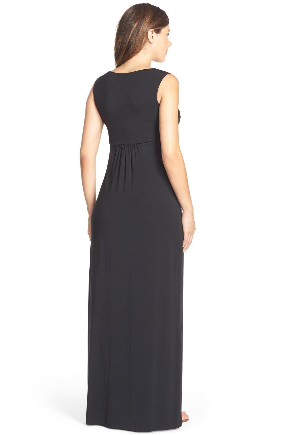 'Callie' Jersey Maxi Maternity Dress,                             Alternate thumbnail 5, color,                             BLACK