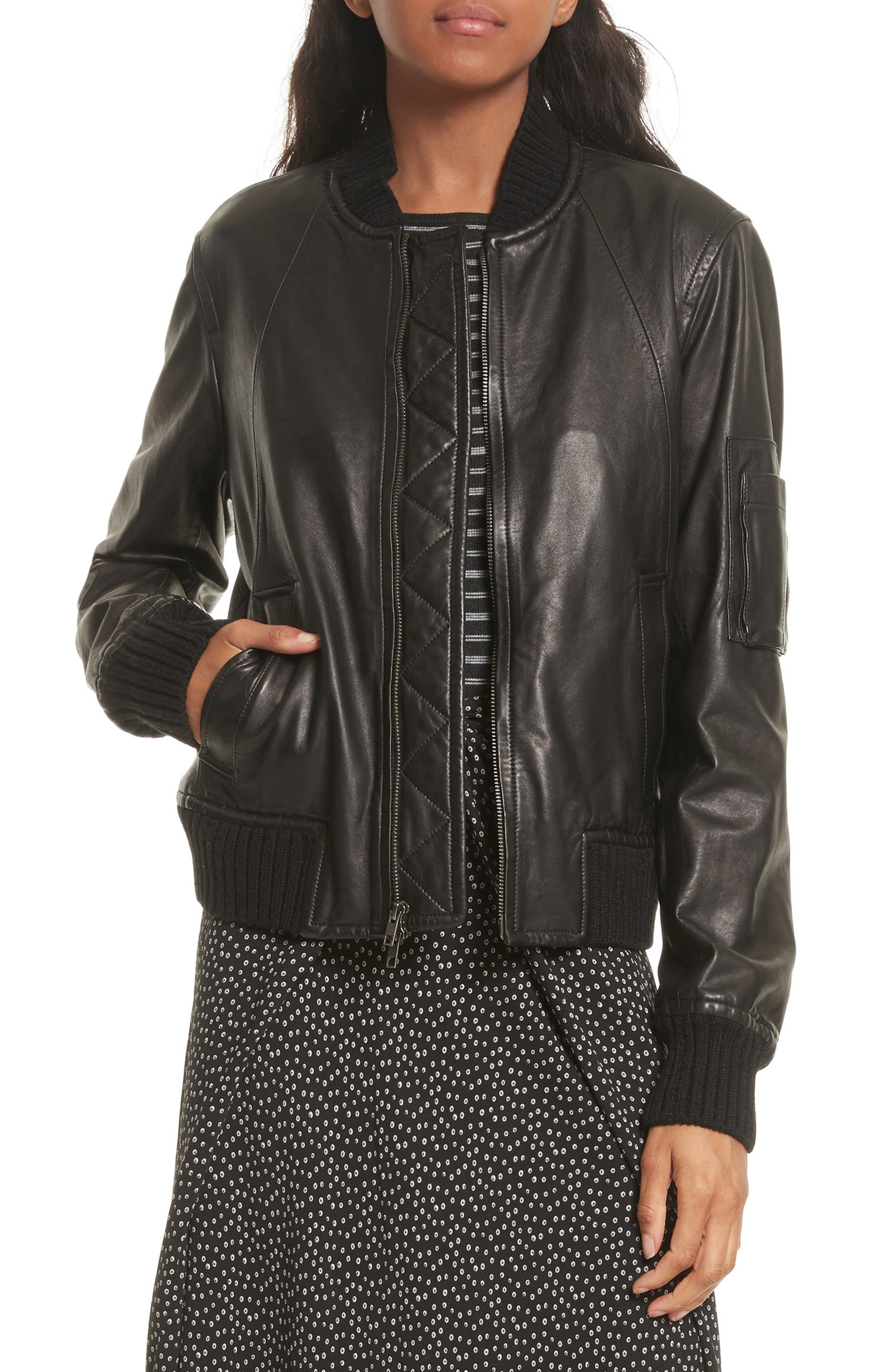 Leather Bomber Jacket,                         Main,                         color, 001
