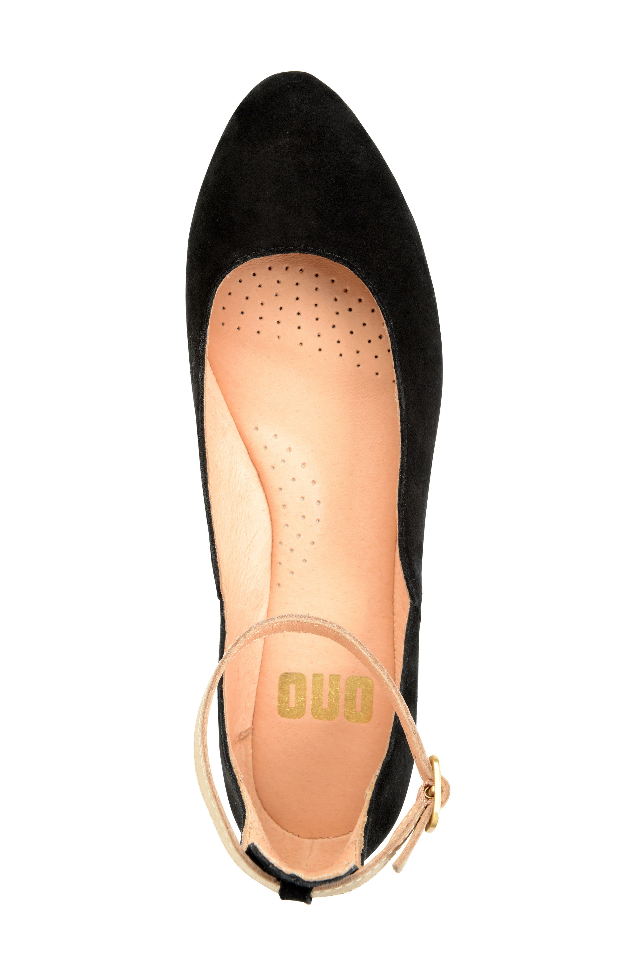 Luchia Ankle Strap Flat,                             Alternate thumbnail 3, color,                             BLACK/ GOLD LEATHER