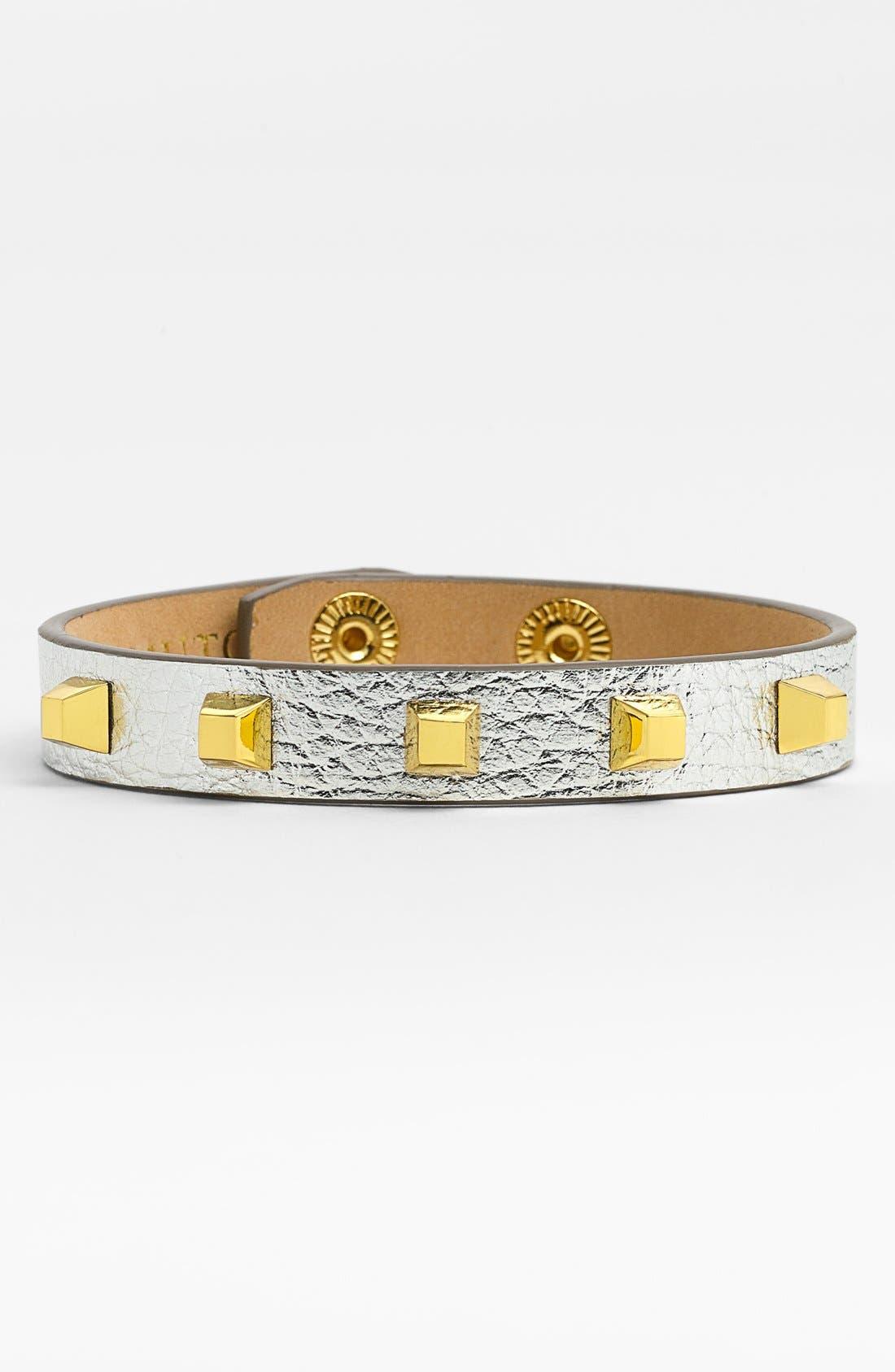 Studded Leather Bracelet,                         Main,                         color, 040