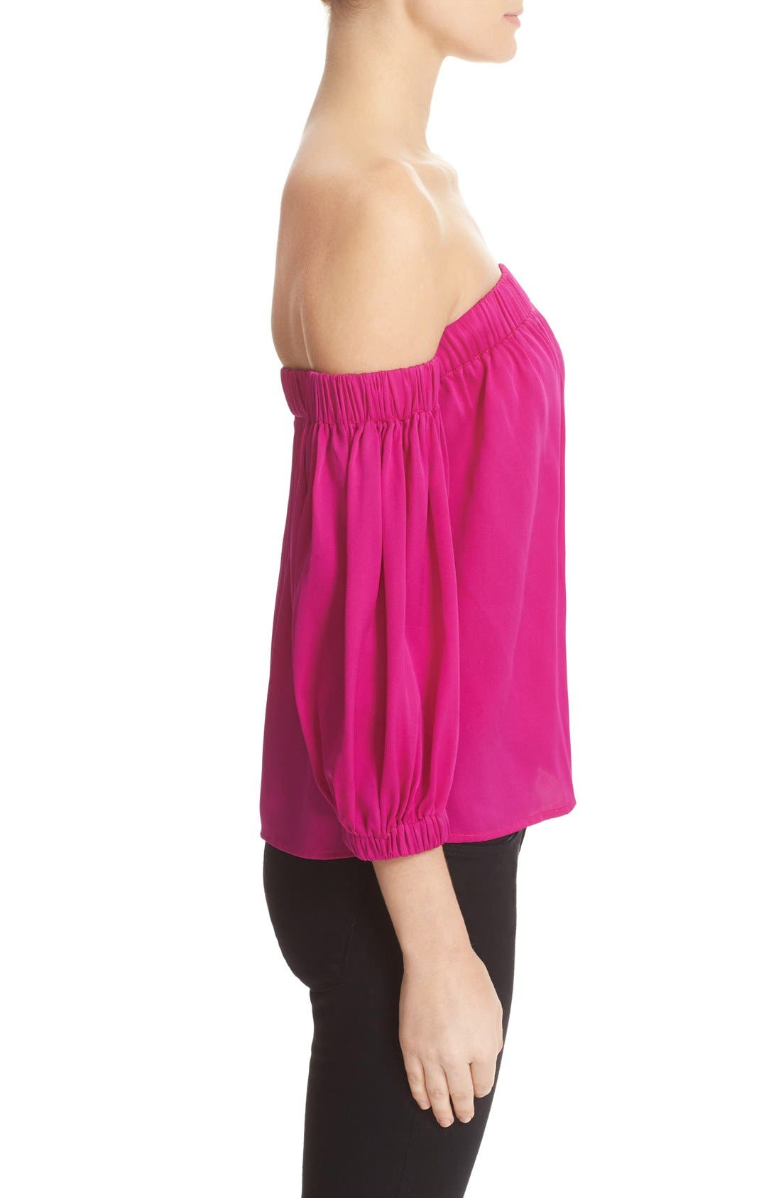 Stretch Silk Off the Shoulder Top,                             Alternate thumbnail 3, color,                             662