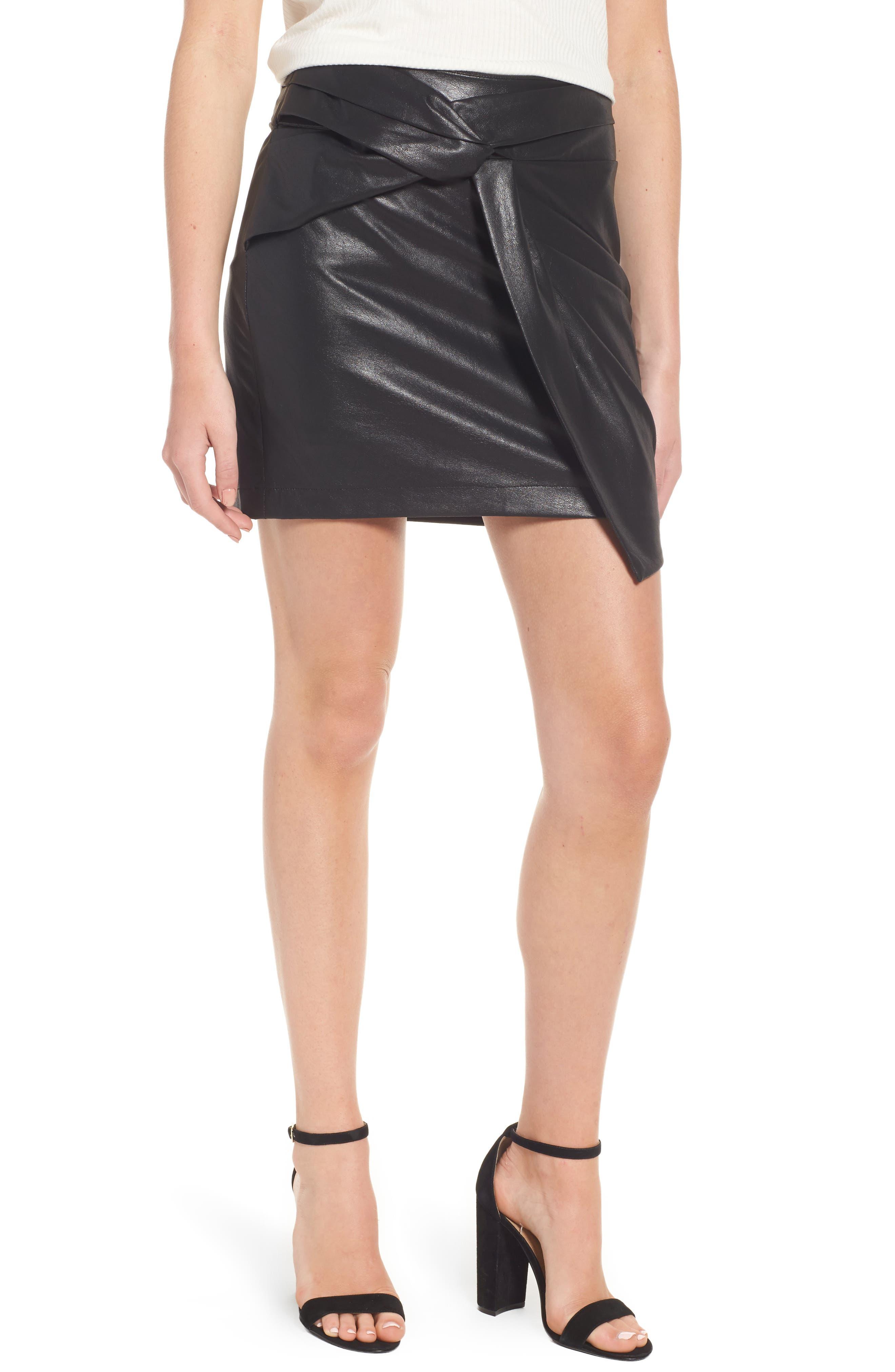 Faux Leather Miniskirt,                             Main thumbnail 1, color,                             001
