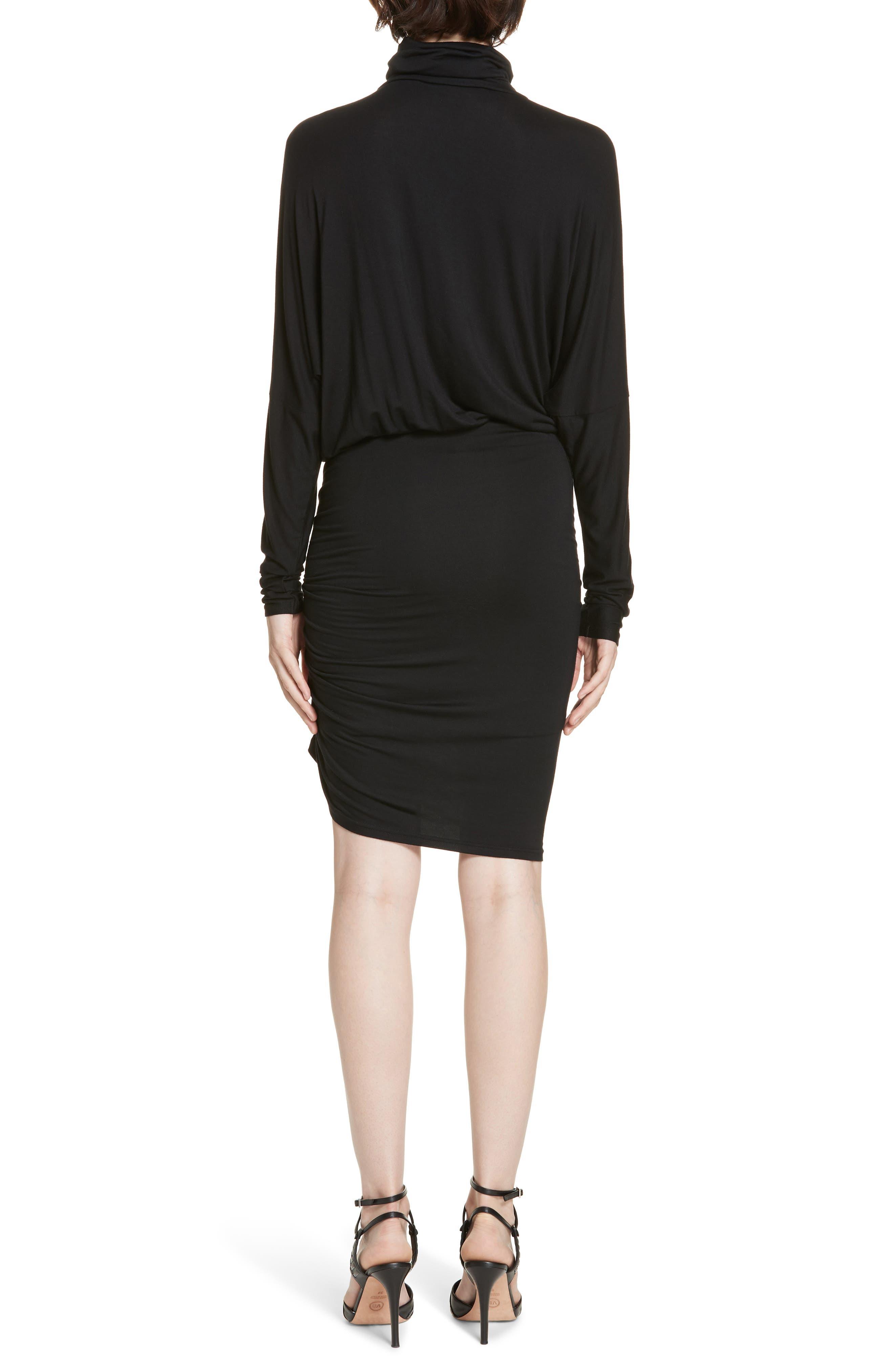 Manda Ruched Dress,                             Alternate thumbnail 2, color,                             BLACK