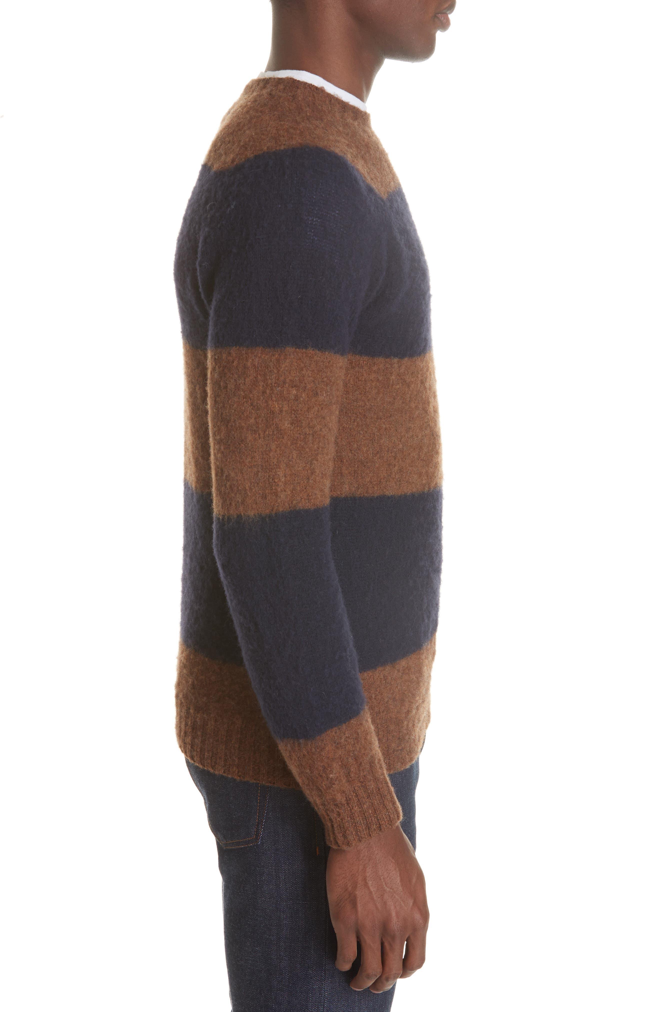 Officine Générale Stripe Wool Crew Sweater,                             Alternate thumbnail 3, color,                             411