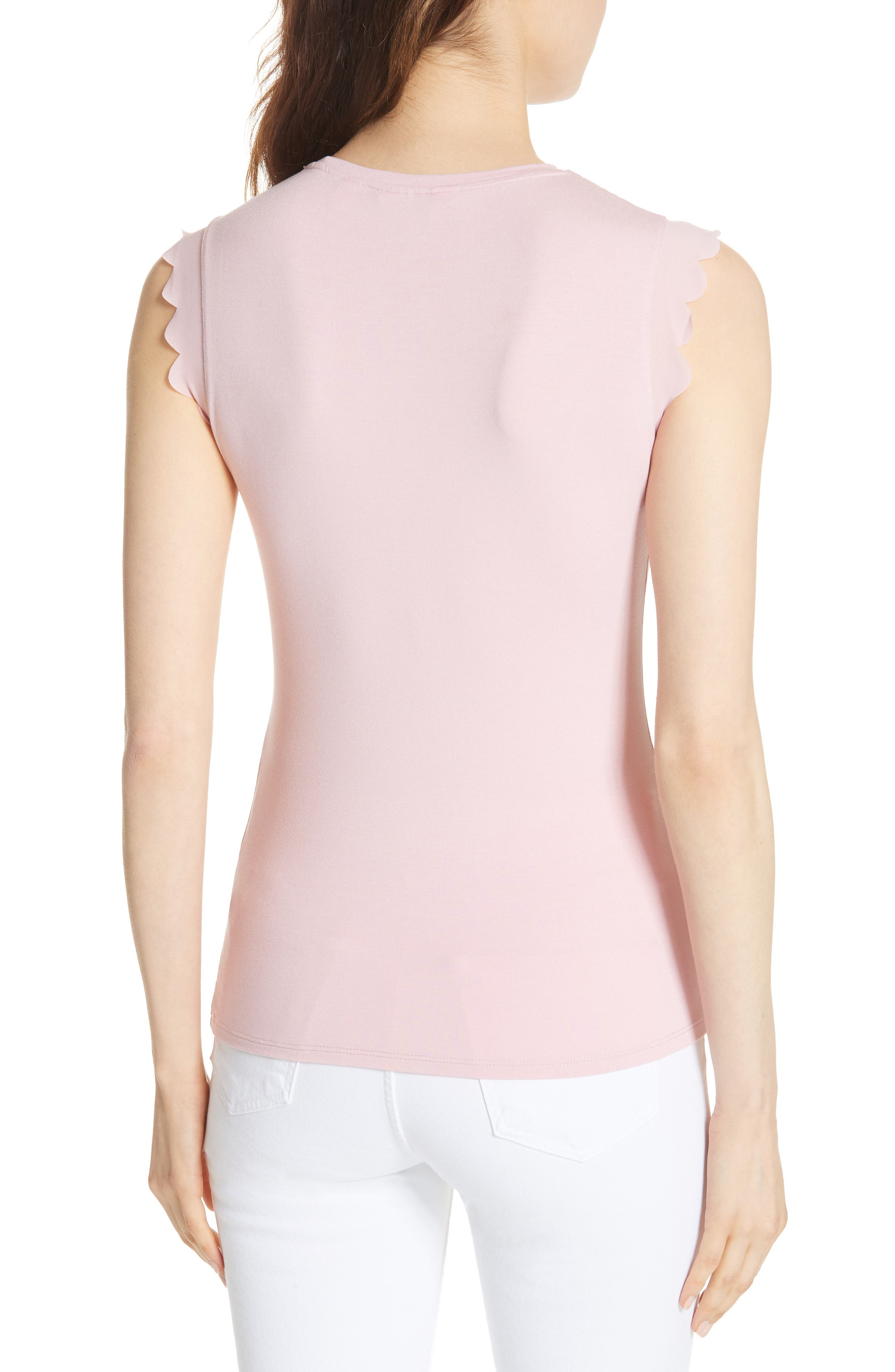 Scalloped Fitted Tee,                             Alternate thumbnail 4, color,