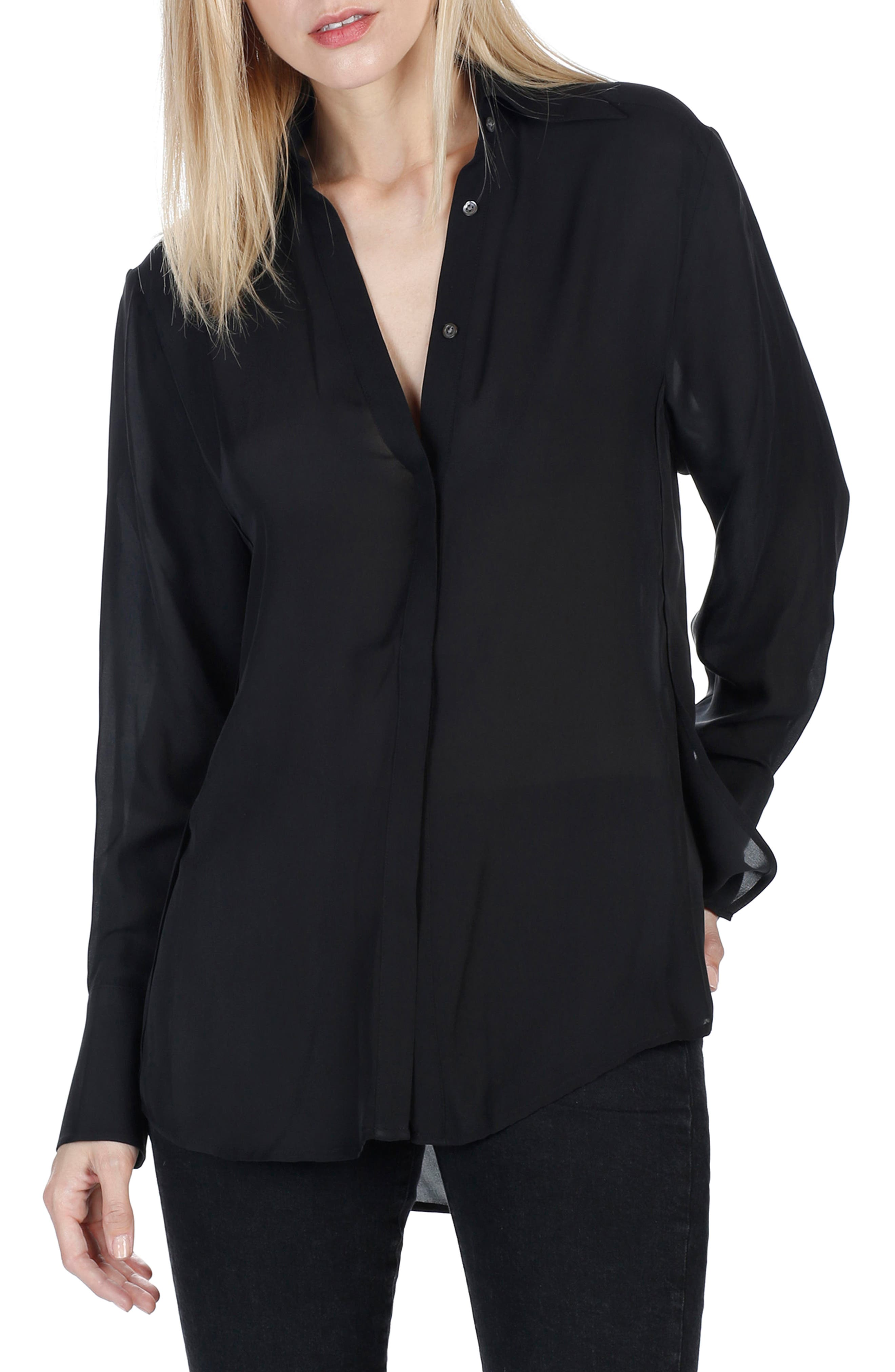 Clemence Silk Shirt,                             Main thumbnail 1, color,                             001