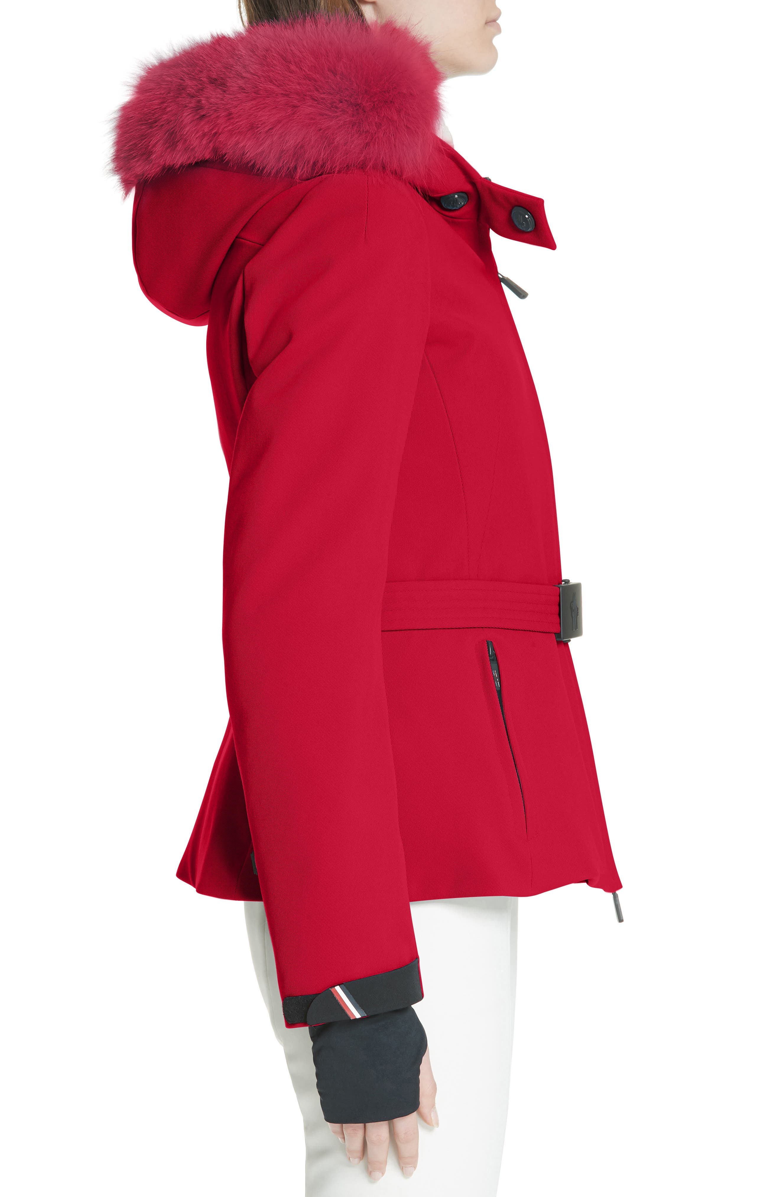 MONCLER,                             Bauges Water Repellent Hooded Down Coat with Detachable Genuine Fox Fur Trim,                             Alternate thumbnail 3, color,                             RED