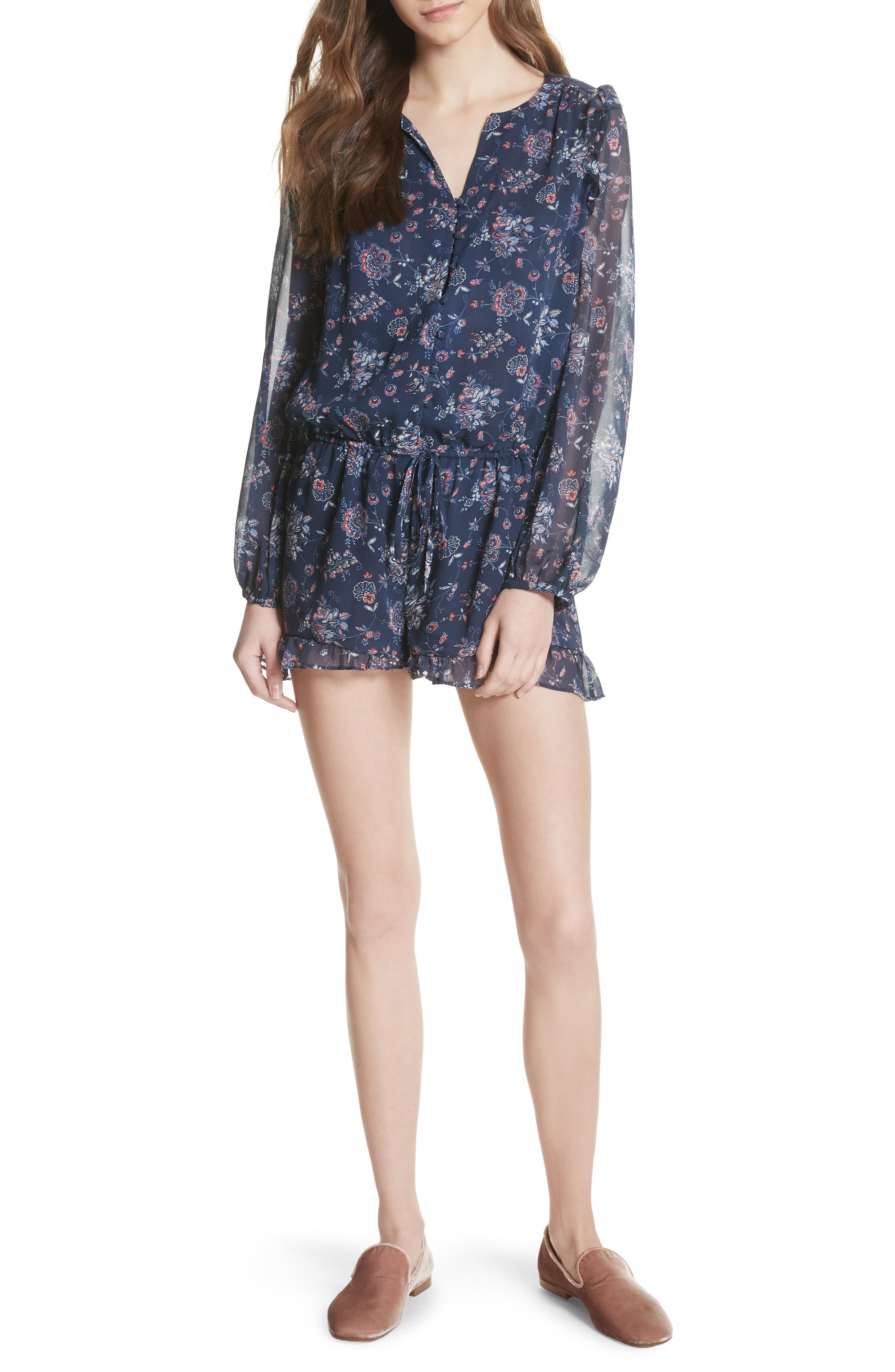 Cherita Floral Silk Romper,                             Main thumbnail 1, color,                             418