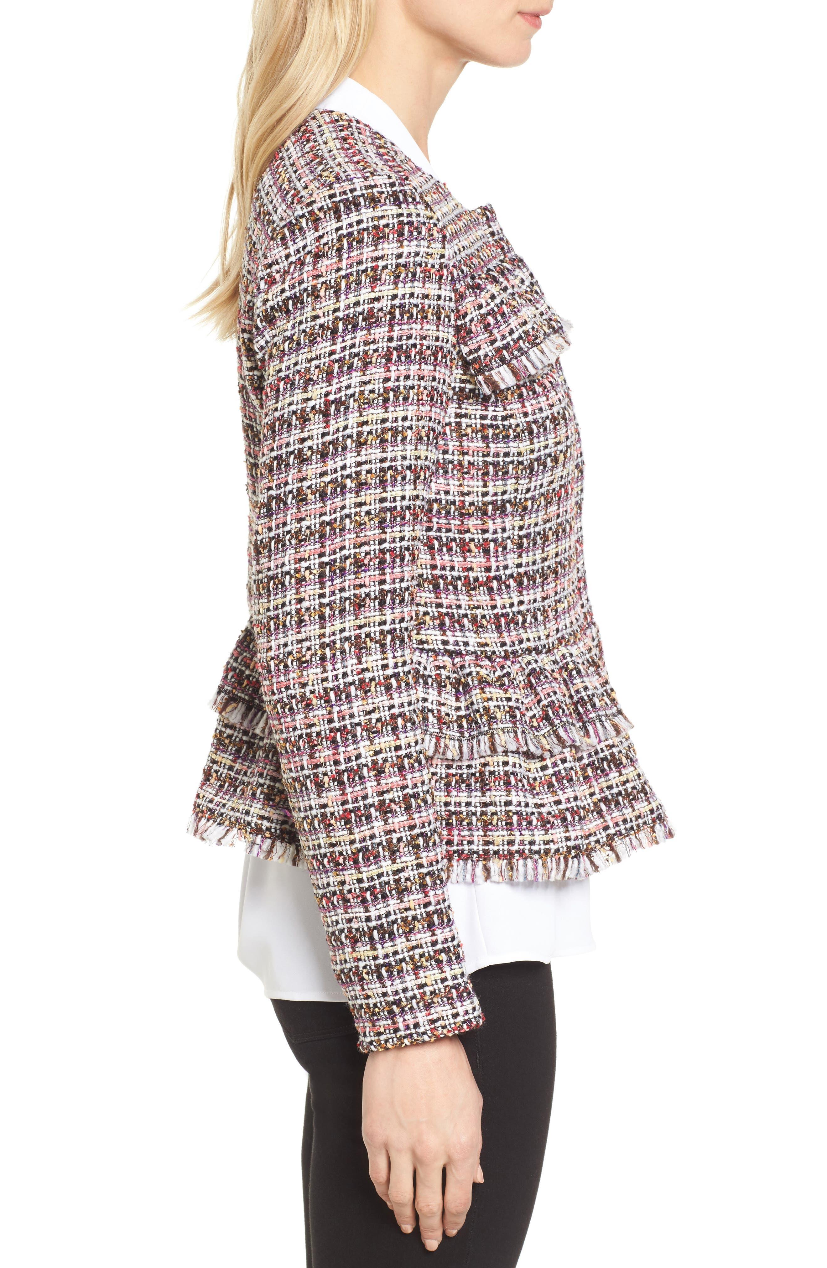 Ruffle Detail Tweed Jacket,                             Alternate thumbnail 3, color,                             660