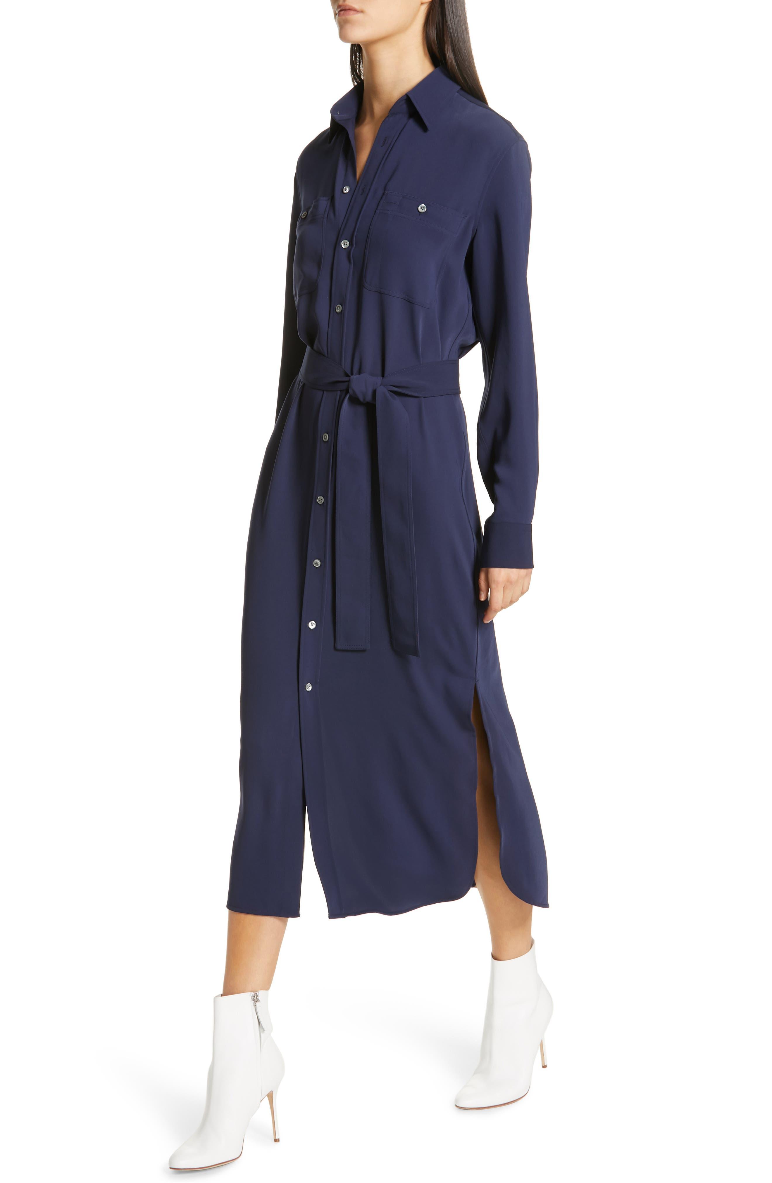 Belted Midi Shirtdress,                             Alternate thumbnail 4, color,                             CRUISE NAVY