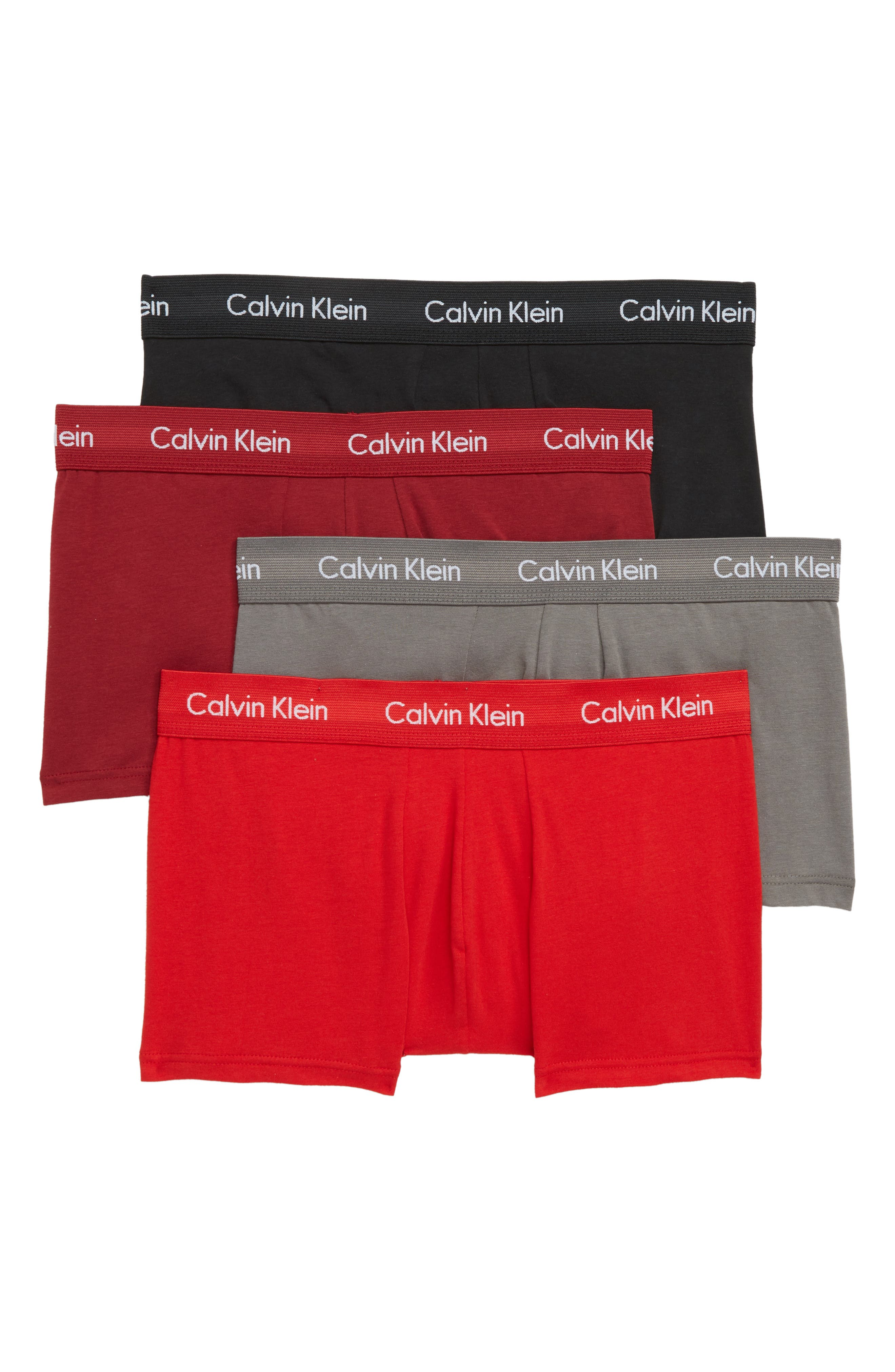4-Pack Cotton Trunks,                             Main thumbnail 1, color,                             BLACK/ RED/ GREY SKY