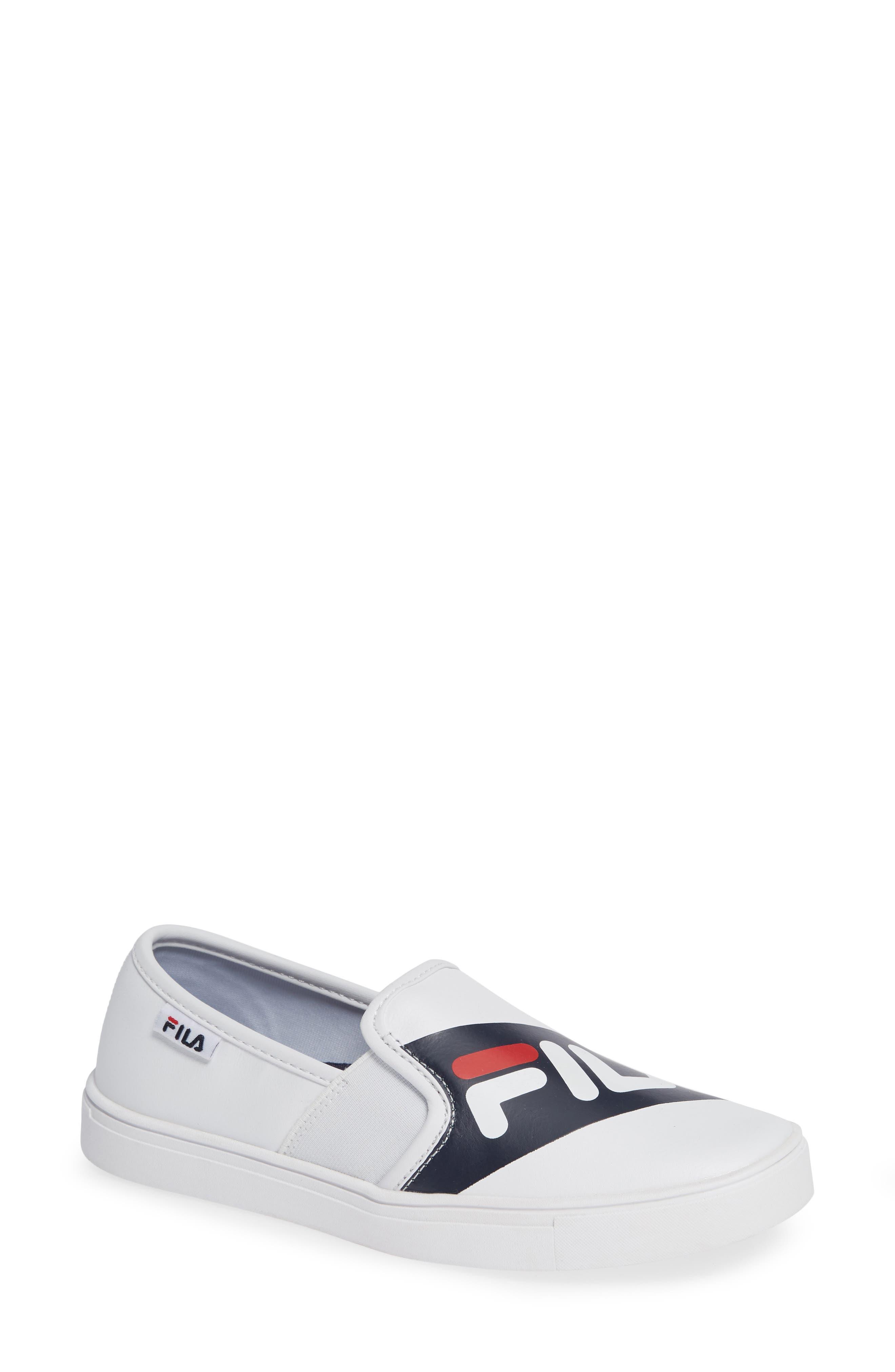 Original Slip-On Sneaker,                         Main,                         color, WHT/ FNVY/ RED
