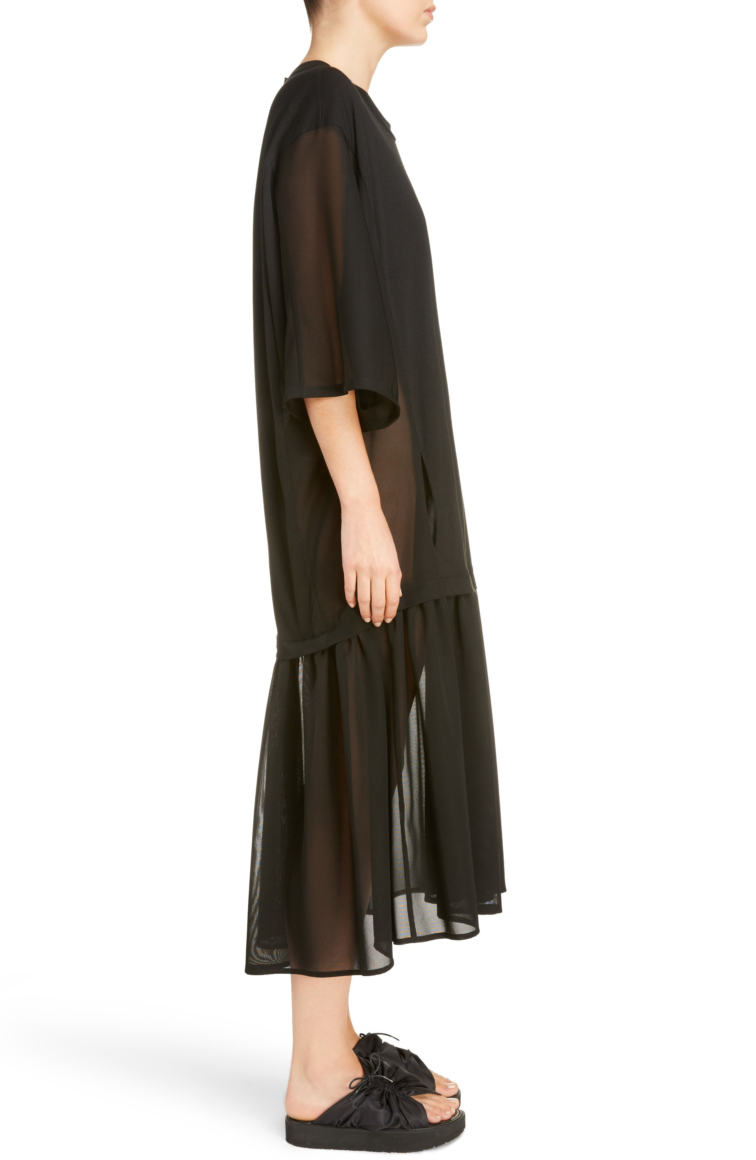 Sheer Hem T-Shirt Dress,                             Alternate thumbnail 3, color,                             001