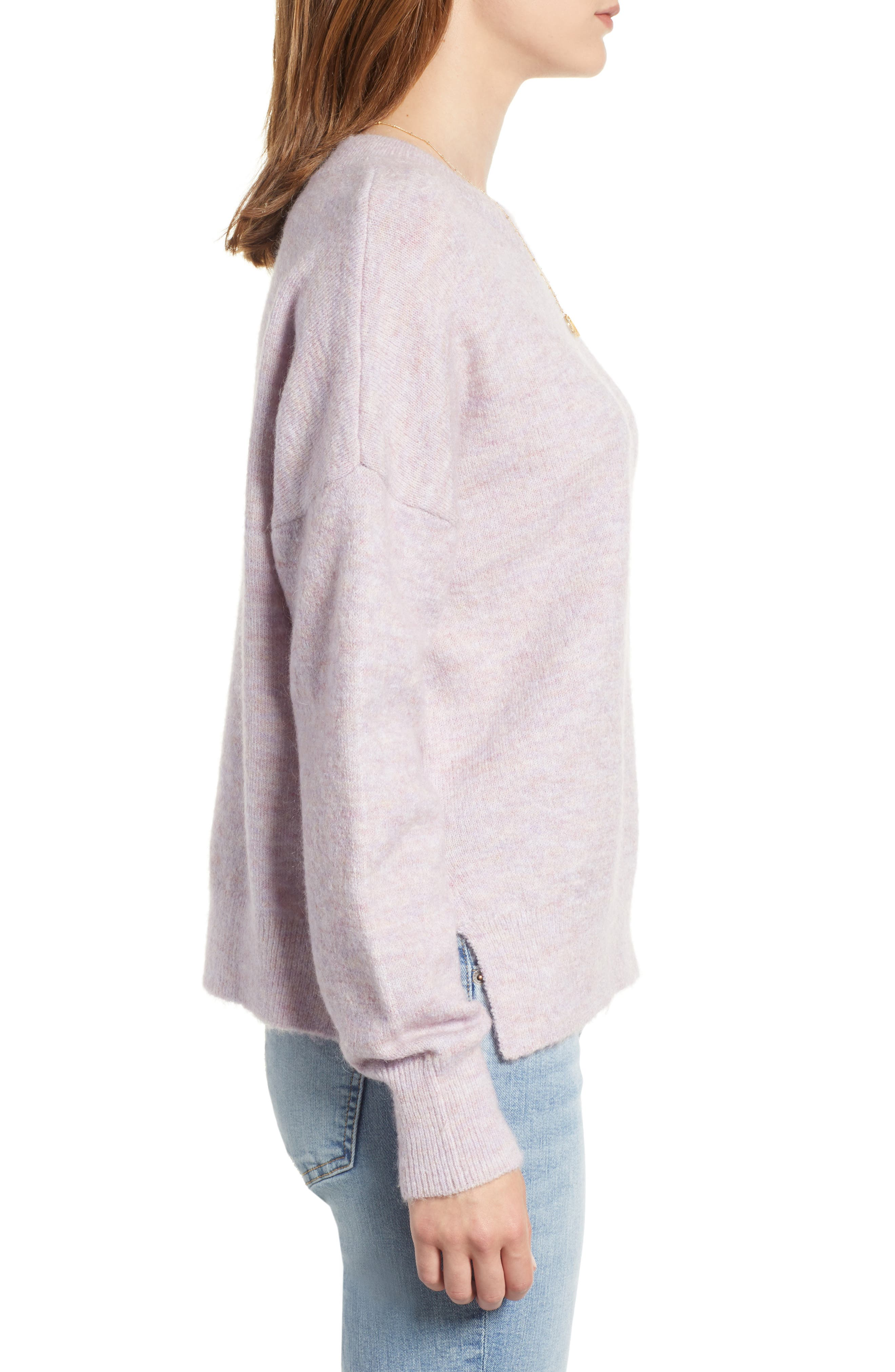 Crewneck Sweater,                             Alternate thumbnail 3, color,                             LILAC MELANGE
