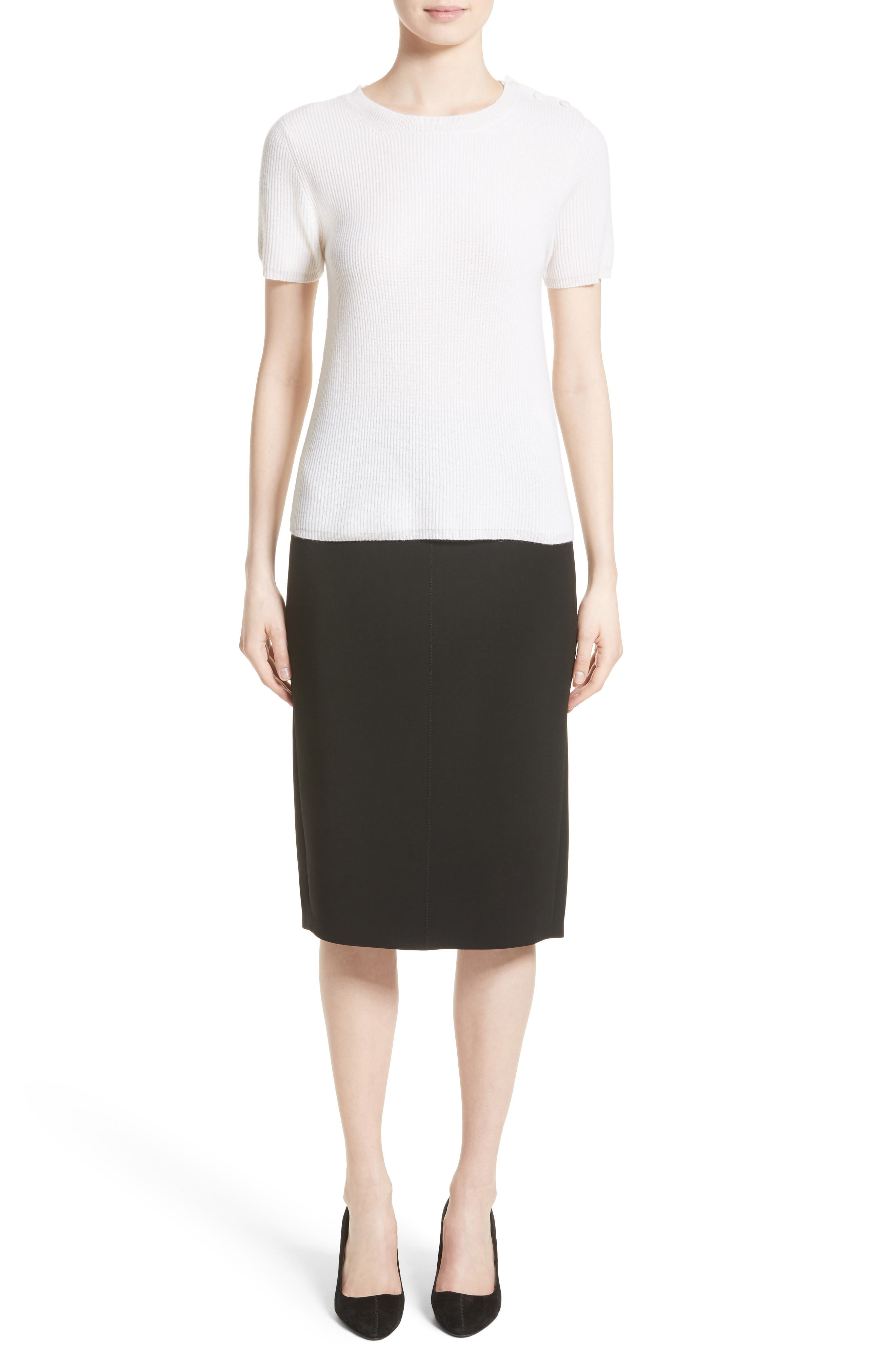 Bugia Stretch Wool Skirt,                             Alternate thumbnail 6, color,                             001