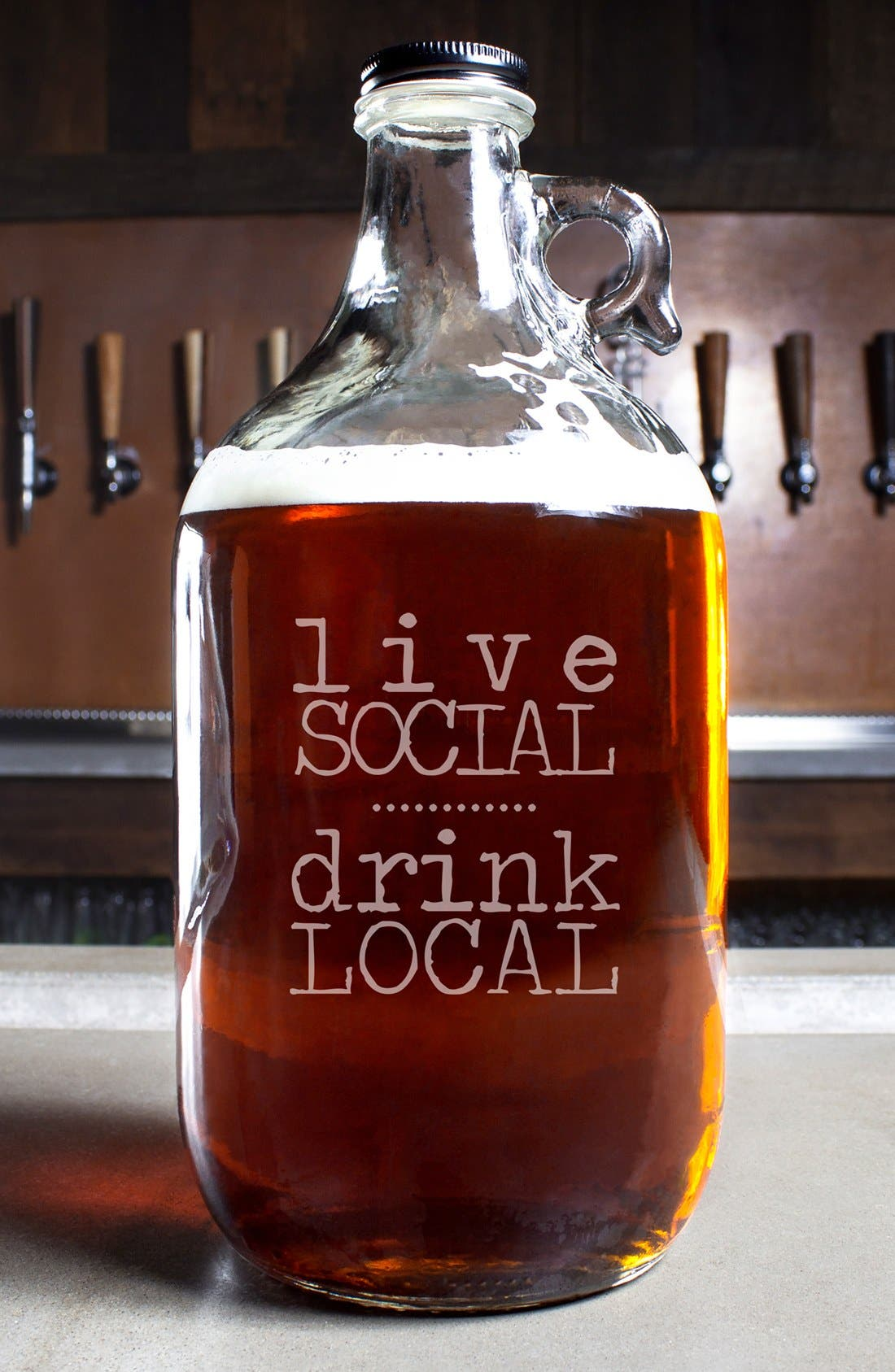 'Live Social Drink Local' Craft Beer Growler, Main, color, 100