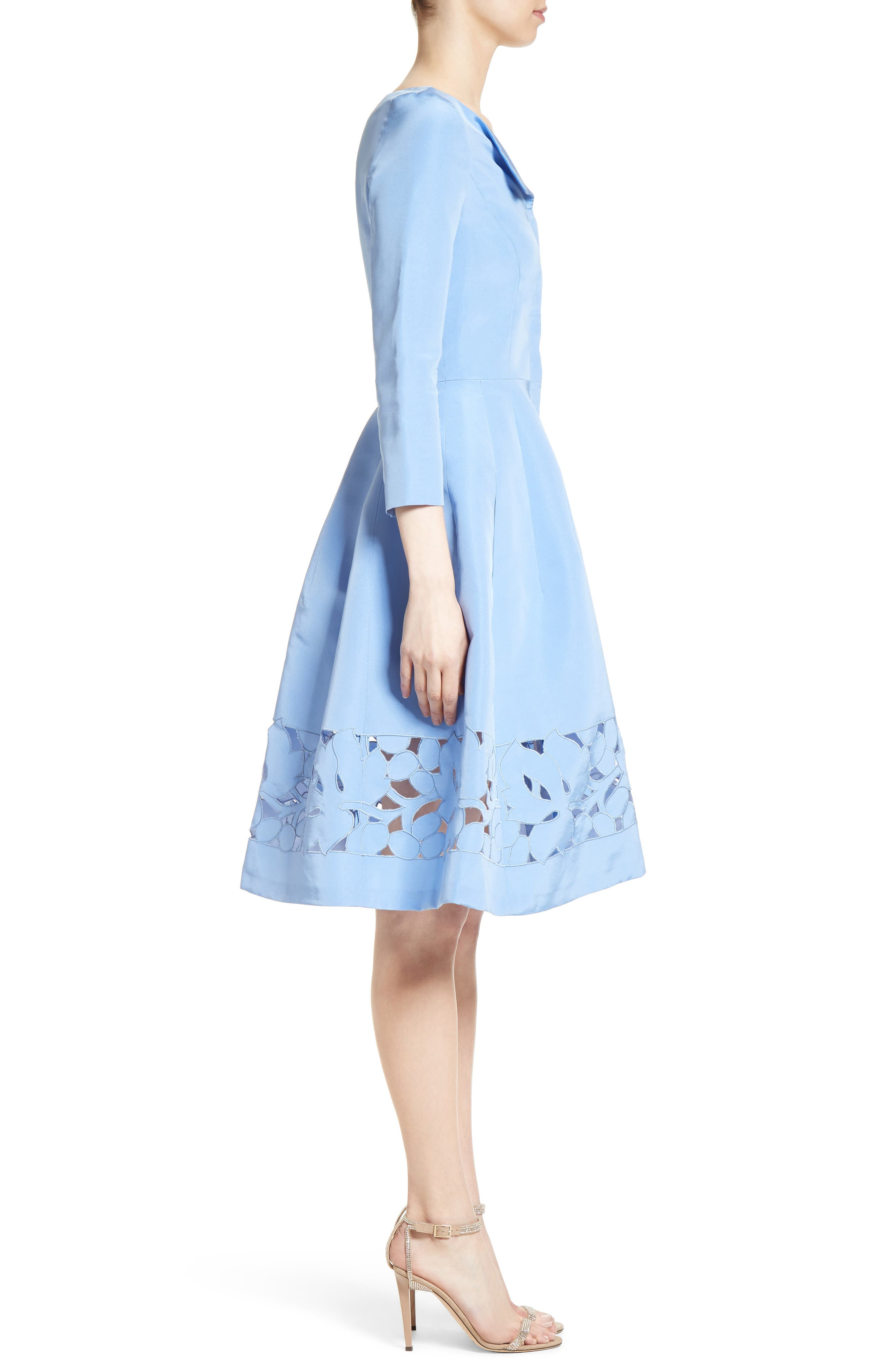 Carolina Herrerra Laser Cut Eyelet Button Front Dress,                             Alternate thumbnail 3, color,                             400