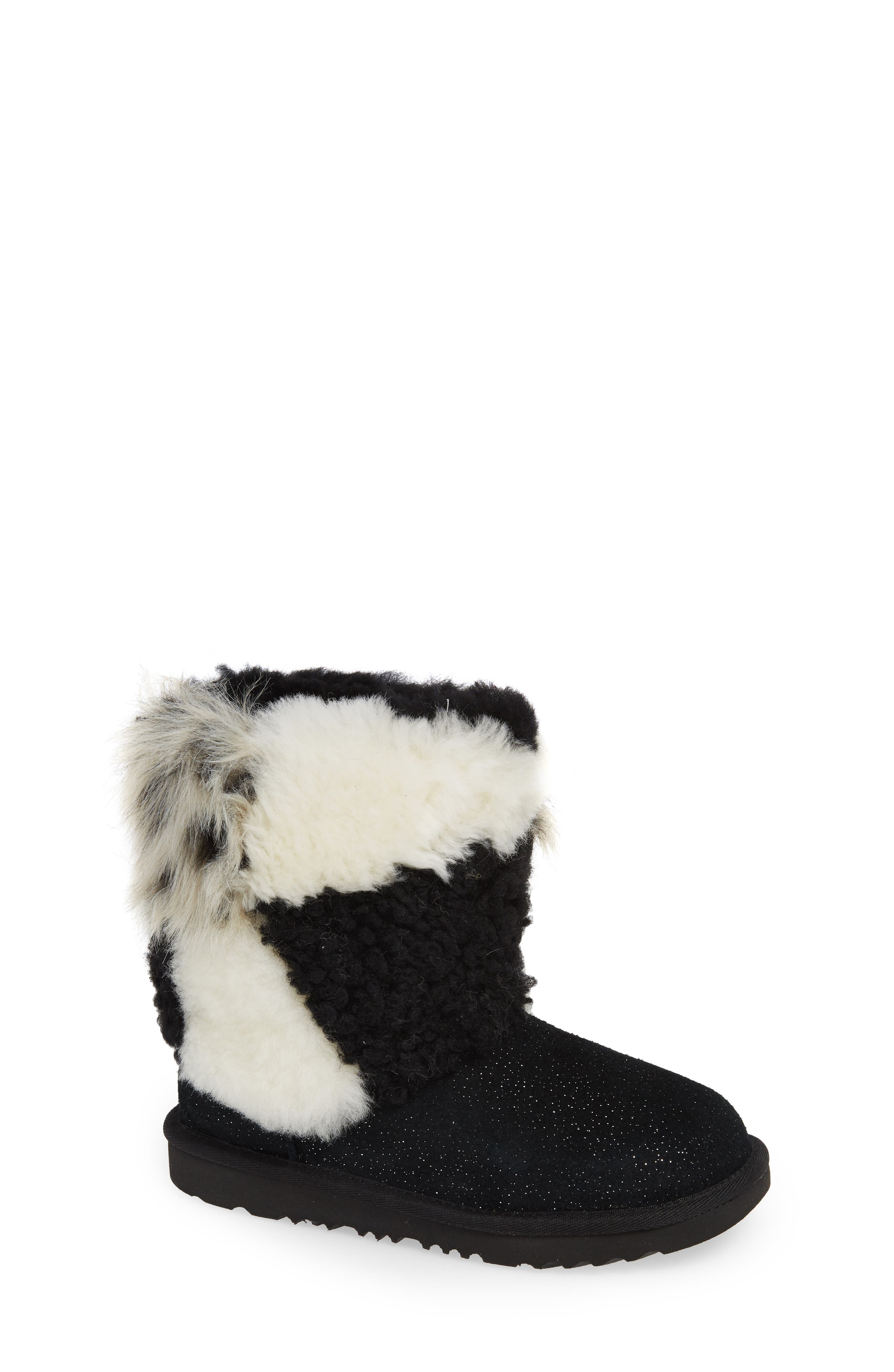 Classic Short Genuine Shearling & Faux Fur Patchwork Boot,                         Main,                         color, 001