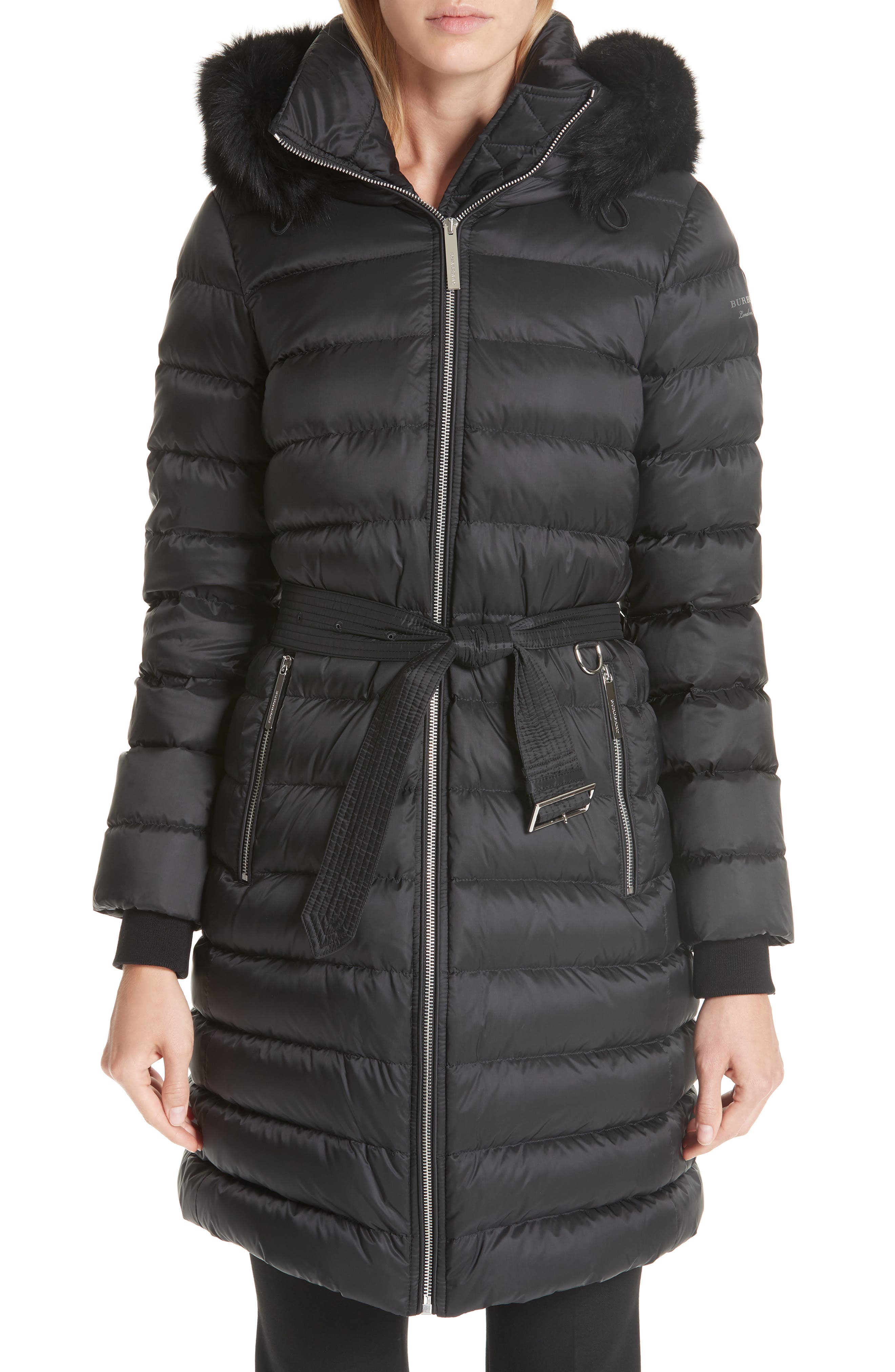 Burberry Limefield Genuine Shearling Hood Puffer Coat, Black