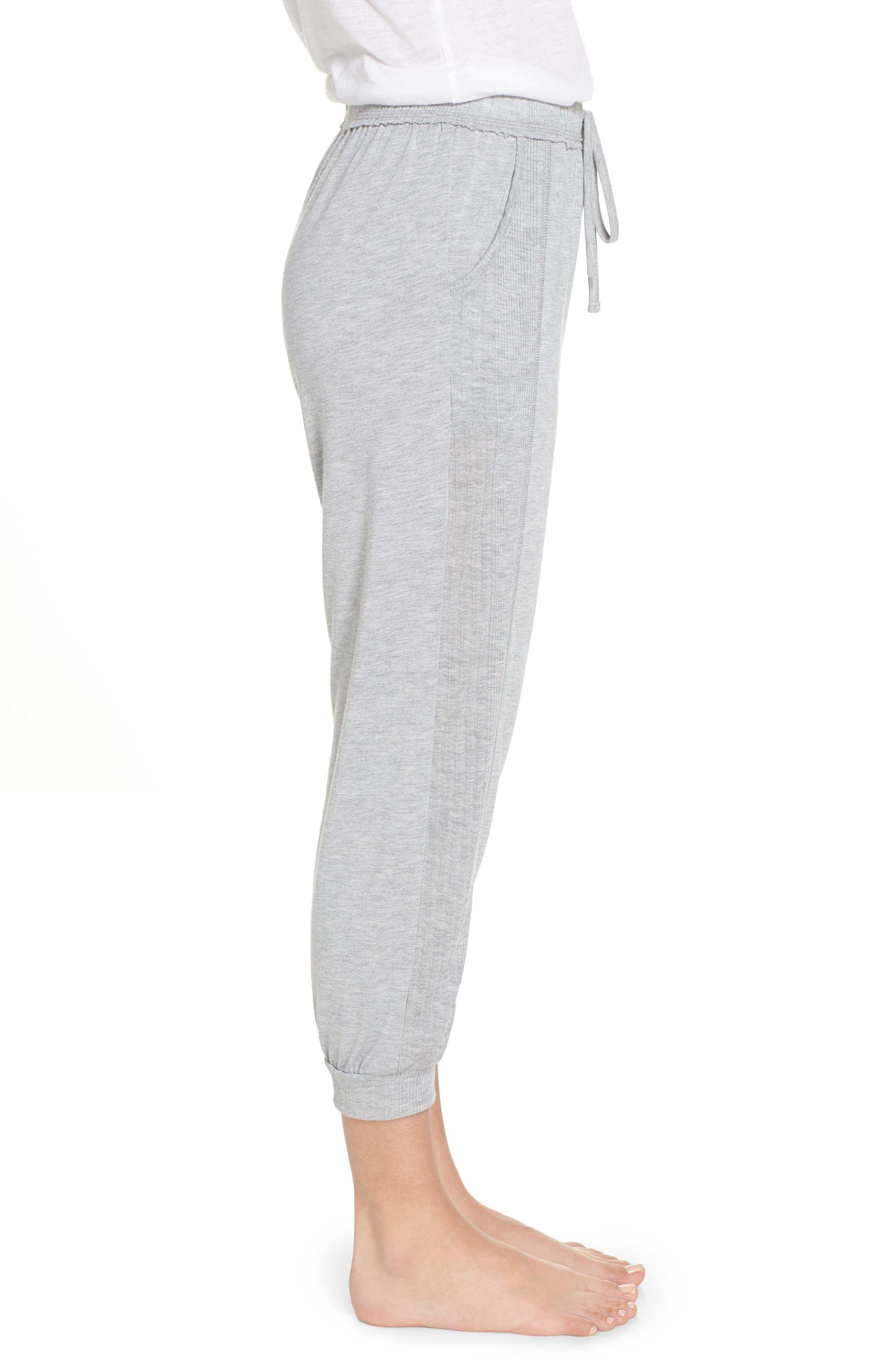 Crop Pajama Pants,                             Alternate thumbnail 3, color,                             LIGHT HEATHER GREY