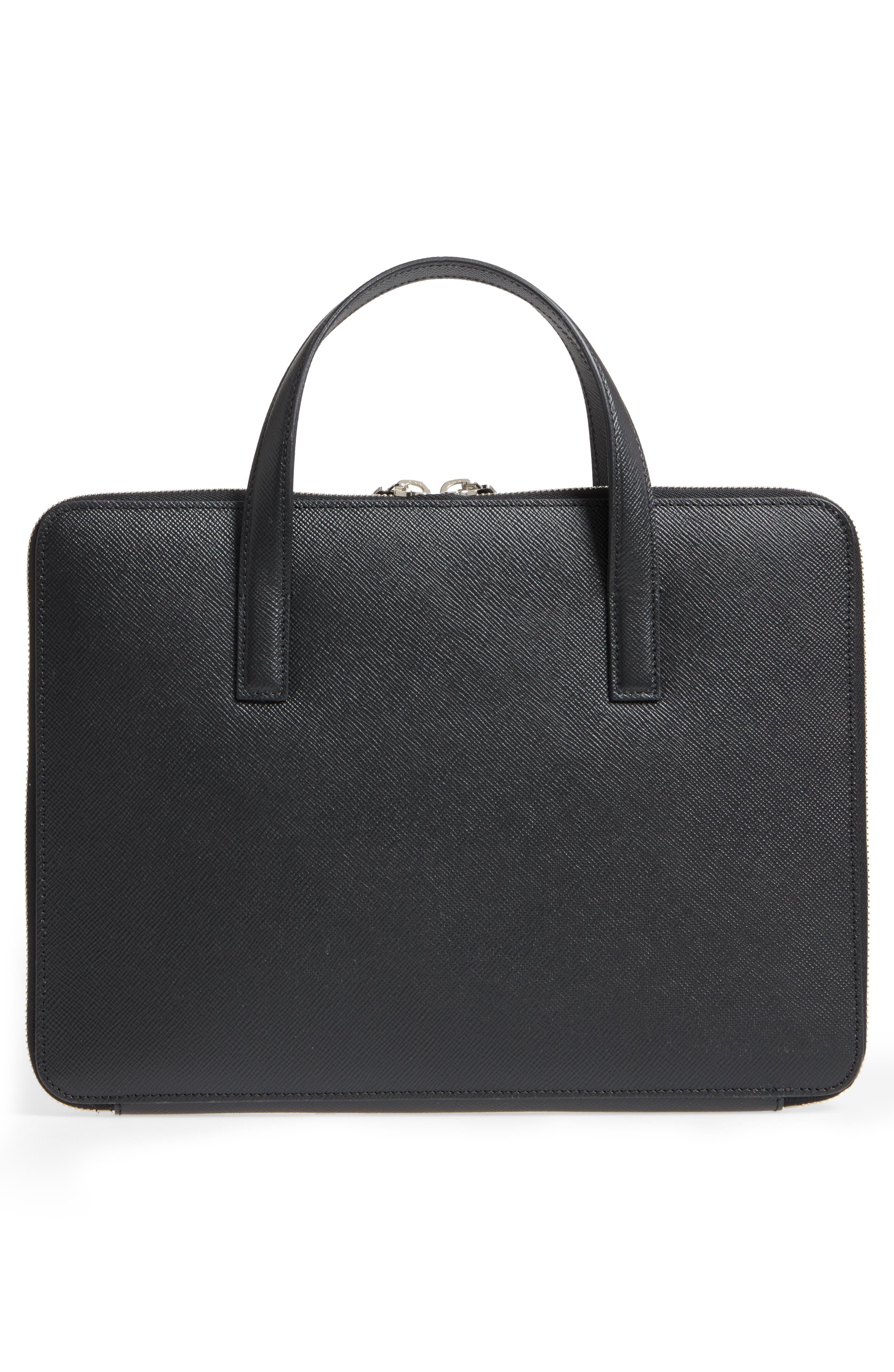 Flat Calfskin Briefcase,                             Alternate thumbnail 5, color,