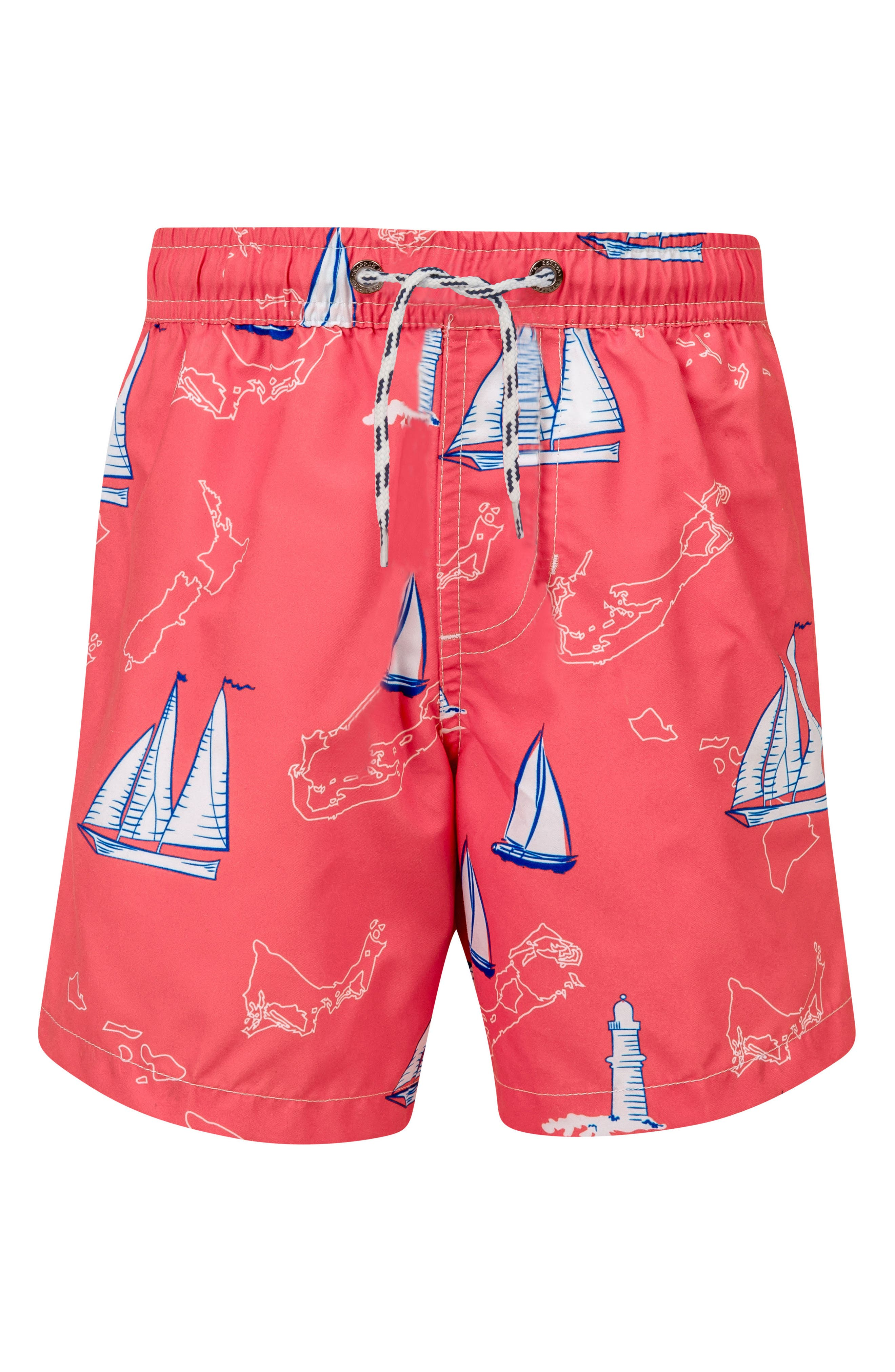 SNAPPER ROCK,                             Island Sail Swim Trunks,                             Main thumbnail 1, color,                             RED MULTI