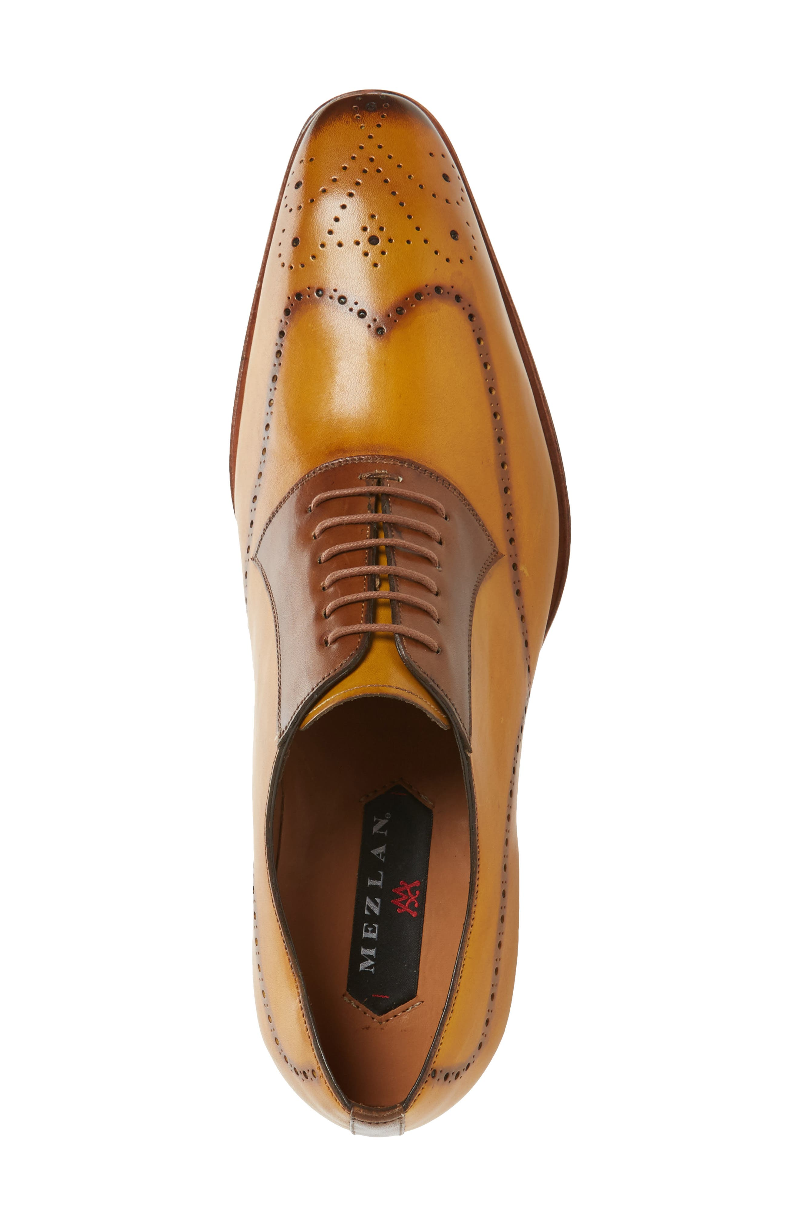 Kelvin Faux Wingtip,                             Alternate thumbnail 3, color,                             MUSTARD/ TAN LEATHER