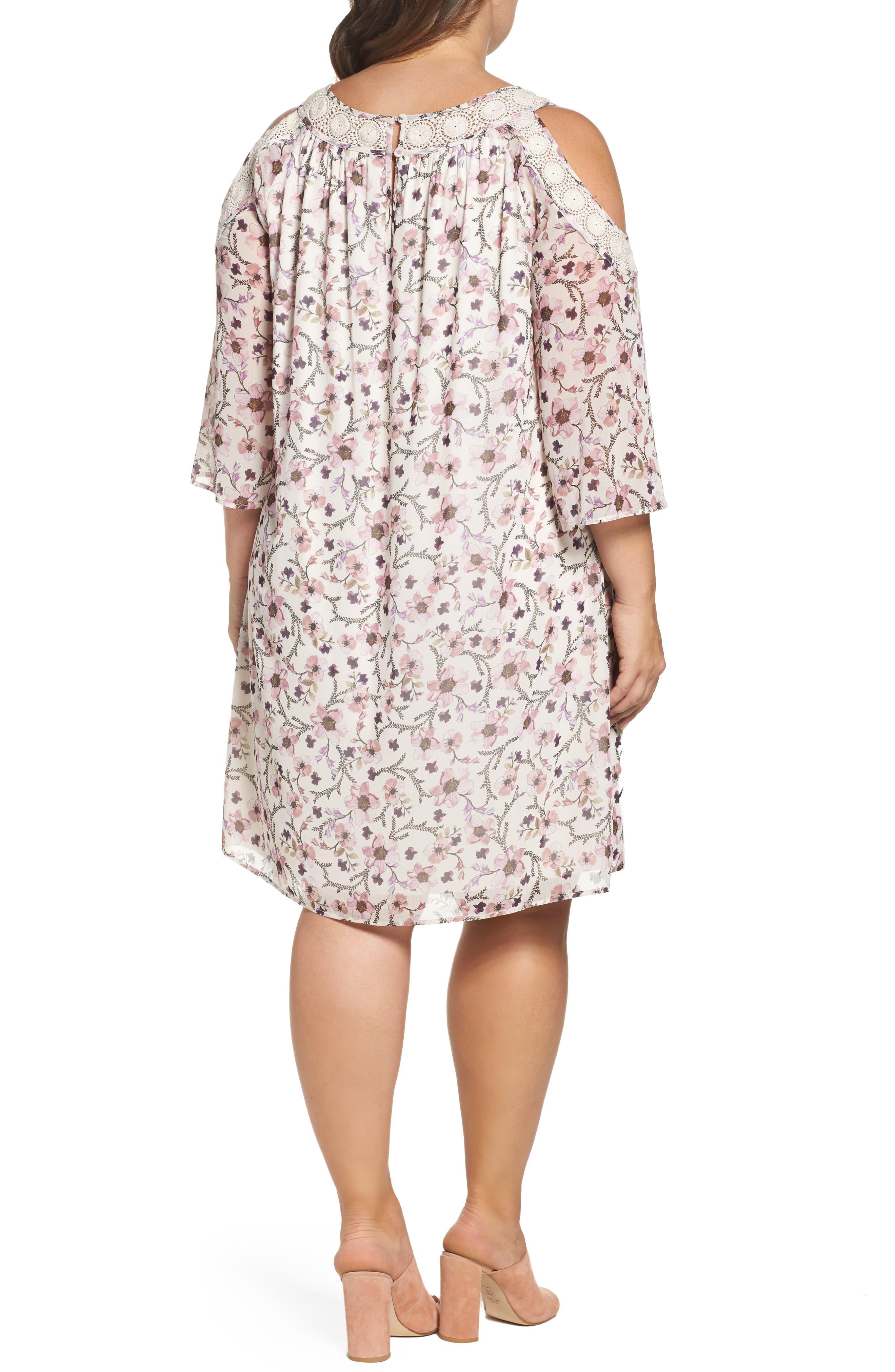 Lace Trim Cold Shoulder Shift Dress,                             Alternate thumbnail 2, color,                             900
