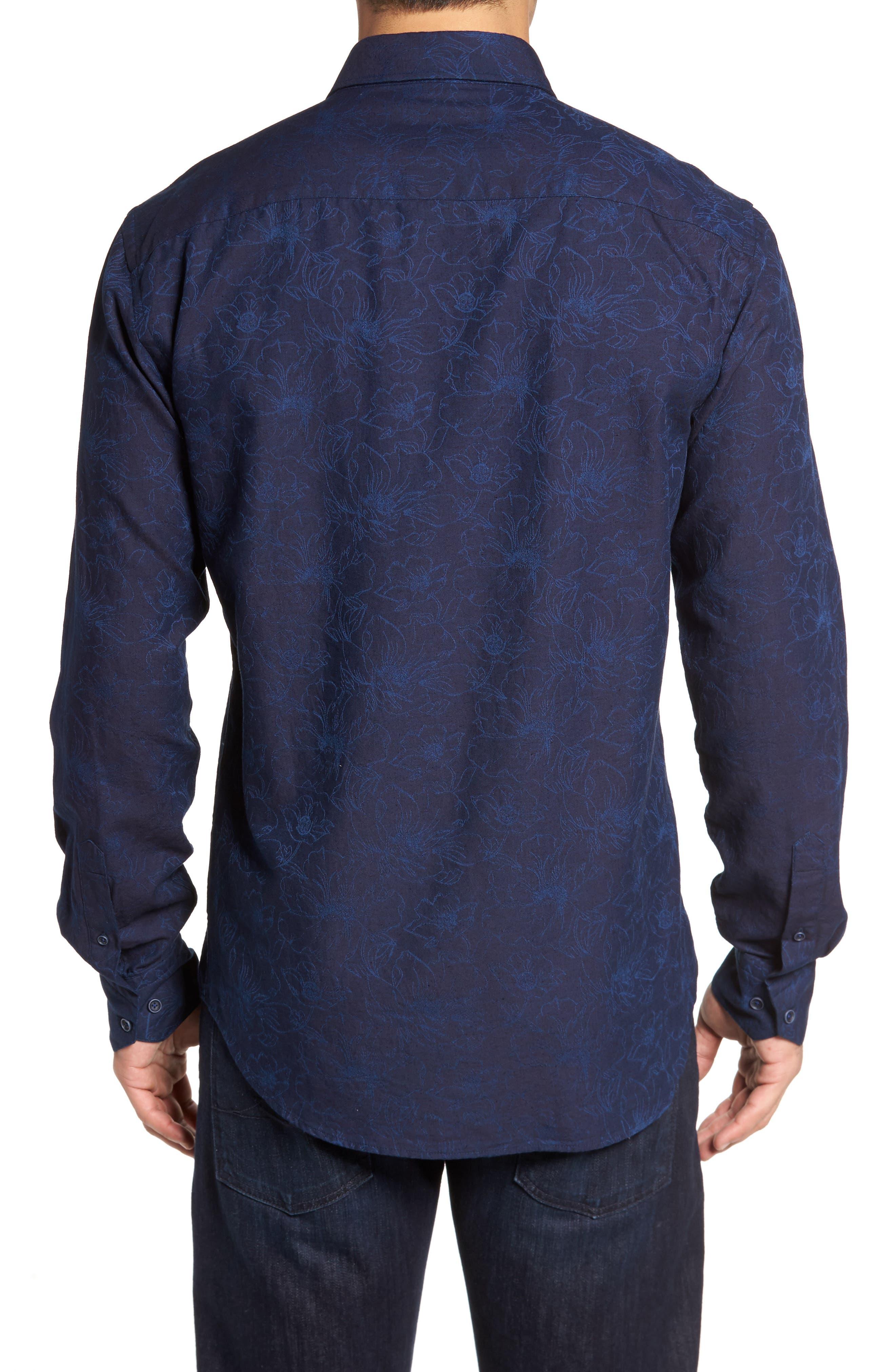 Slim Fit Floral Jacquard Sport Shirt,                             Alternate thumbnail 2, color,                             408